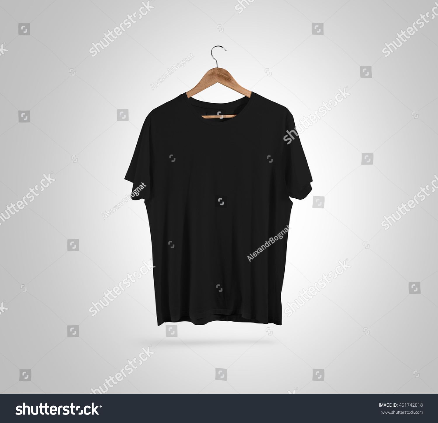Black t shirt blank template - Blank Black T Shirt Front Side View On Hanger Design Mockup Clipping Path