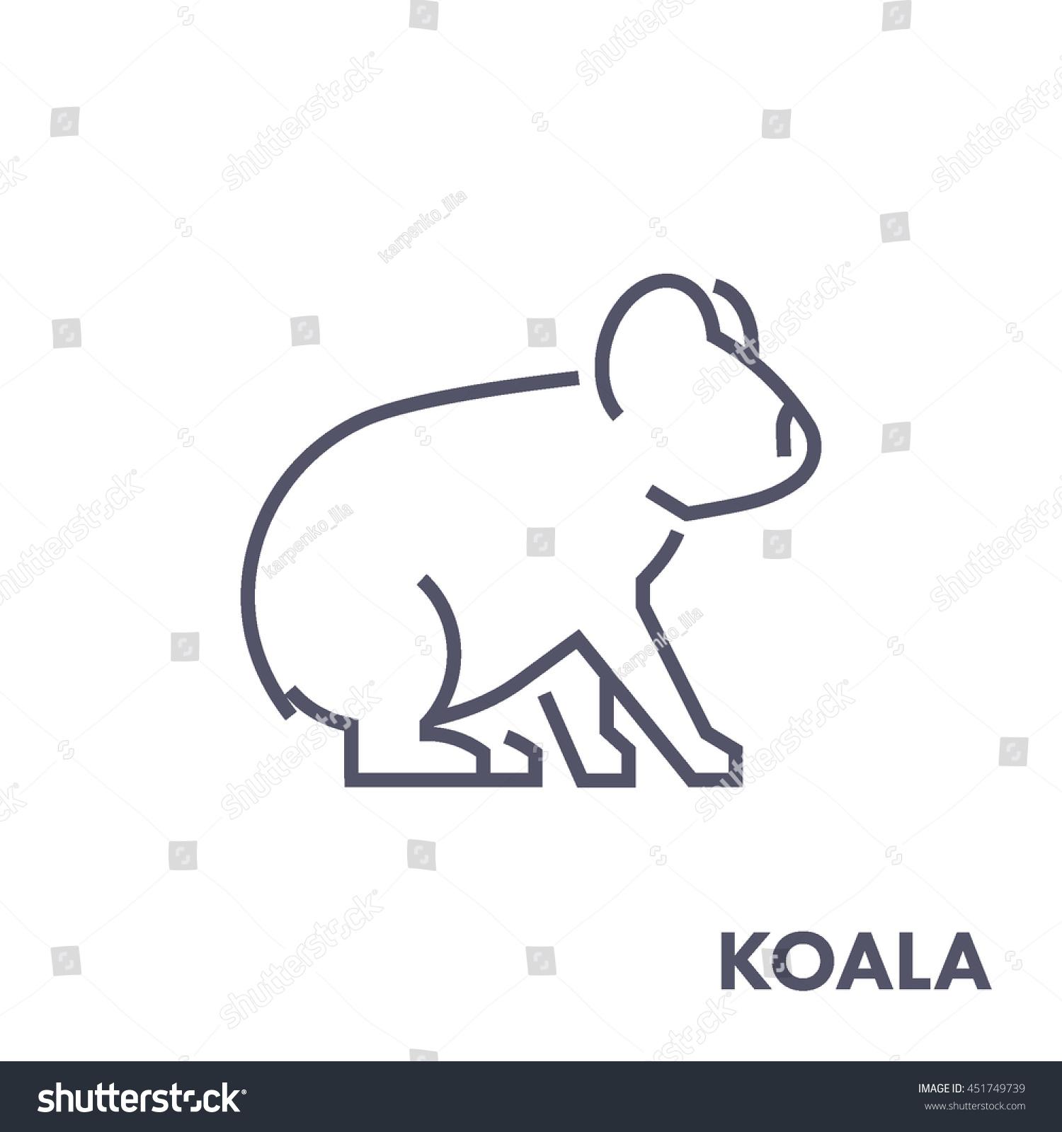 line vector figure koala vector outline stock vector 451749739