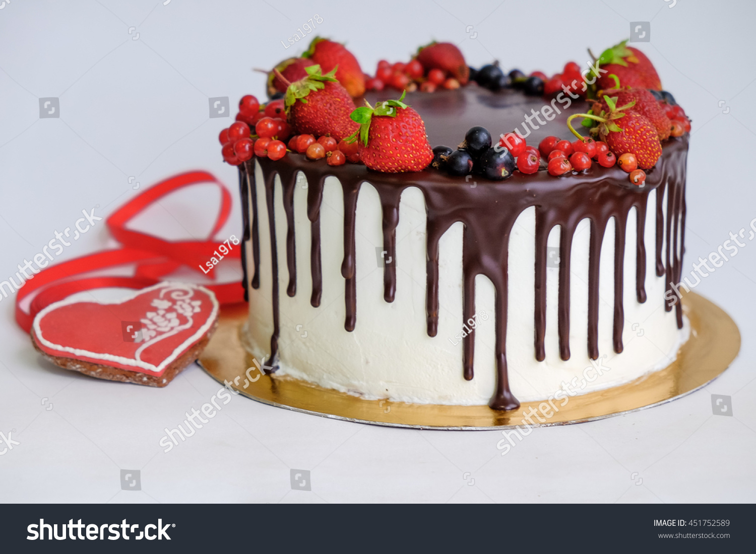 Birthday Cake Decorated By Chocolate Berry Stock Photo Edit Now