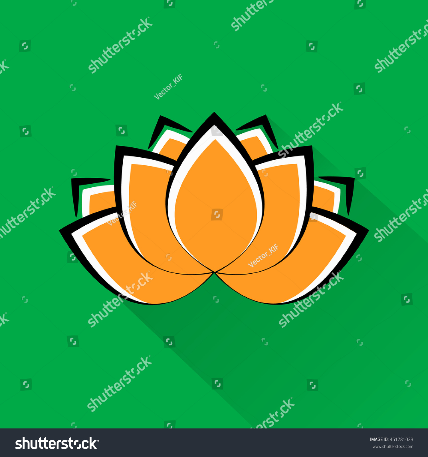 Beautiful Lotus Flower Indian National Colors Stock Illustration