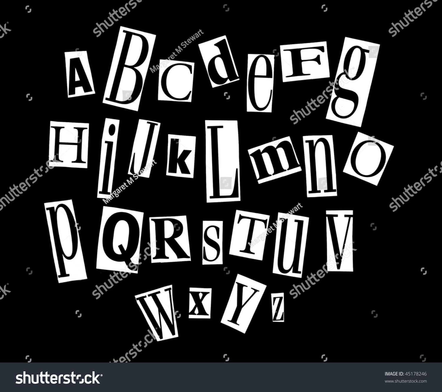 Ransom Letter Alphabet Stock Photo 45178246   Shutterstock