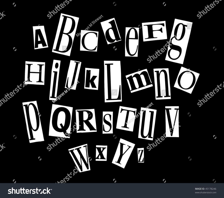 Ransom Letter Alphabet Stock Photo 45178246   Shutterstock