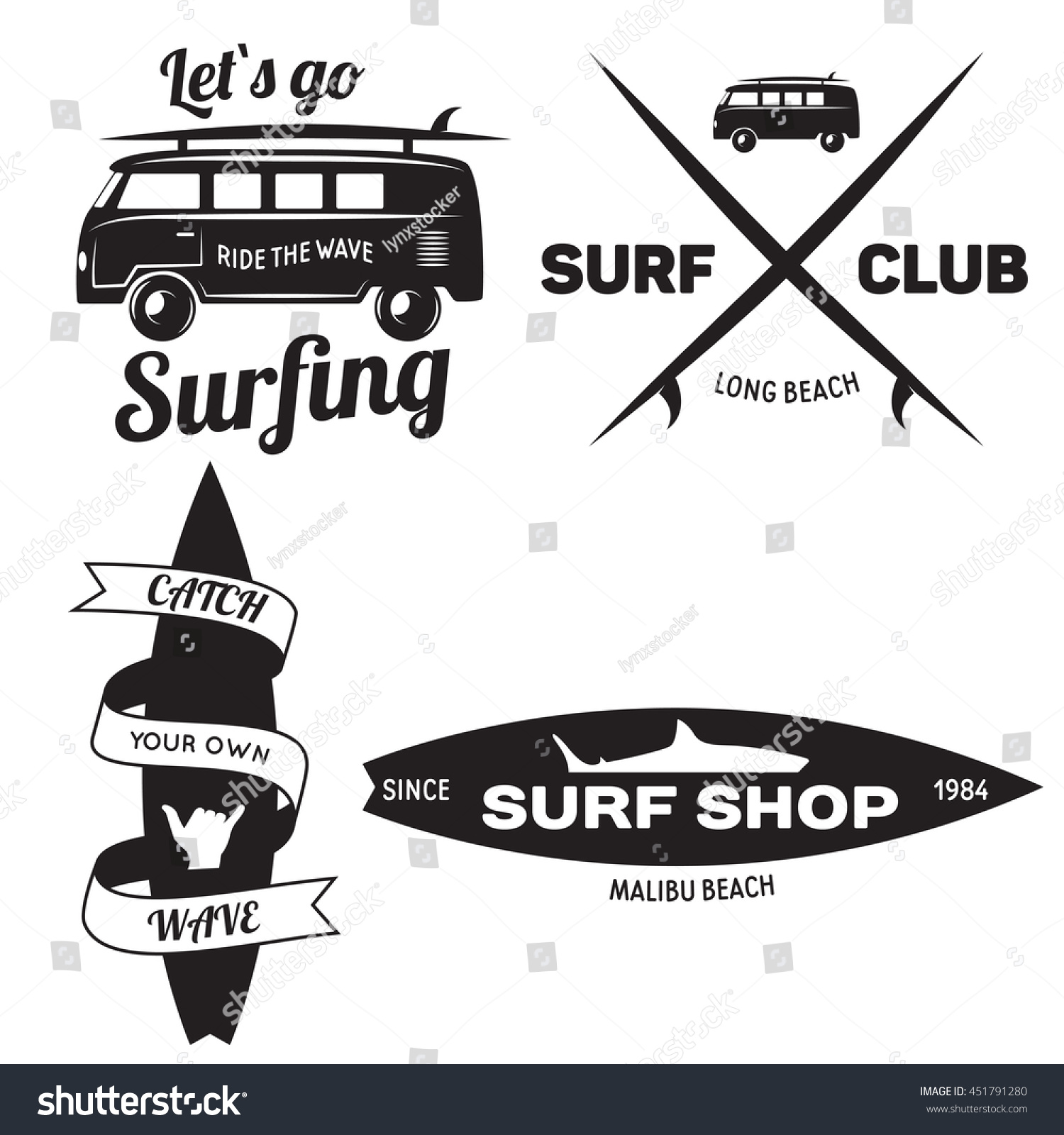 Set Vintage Surfing Graphics Emblems Web Stock Vector Royalty Free