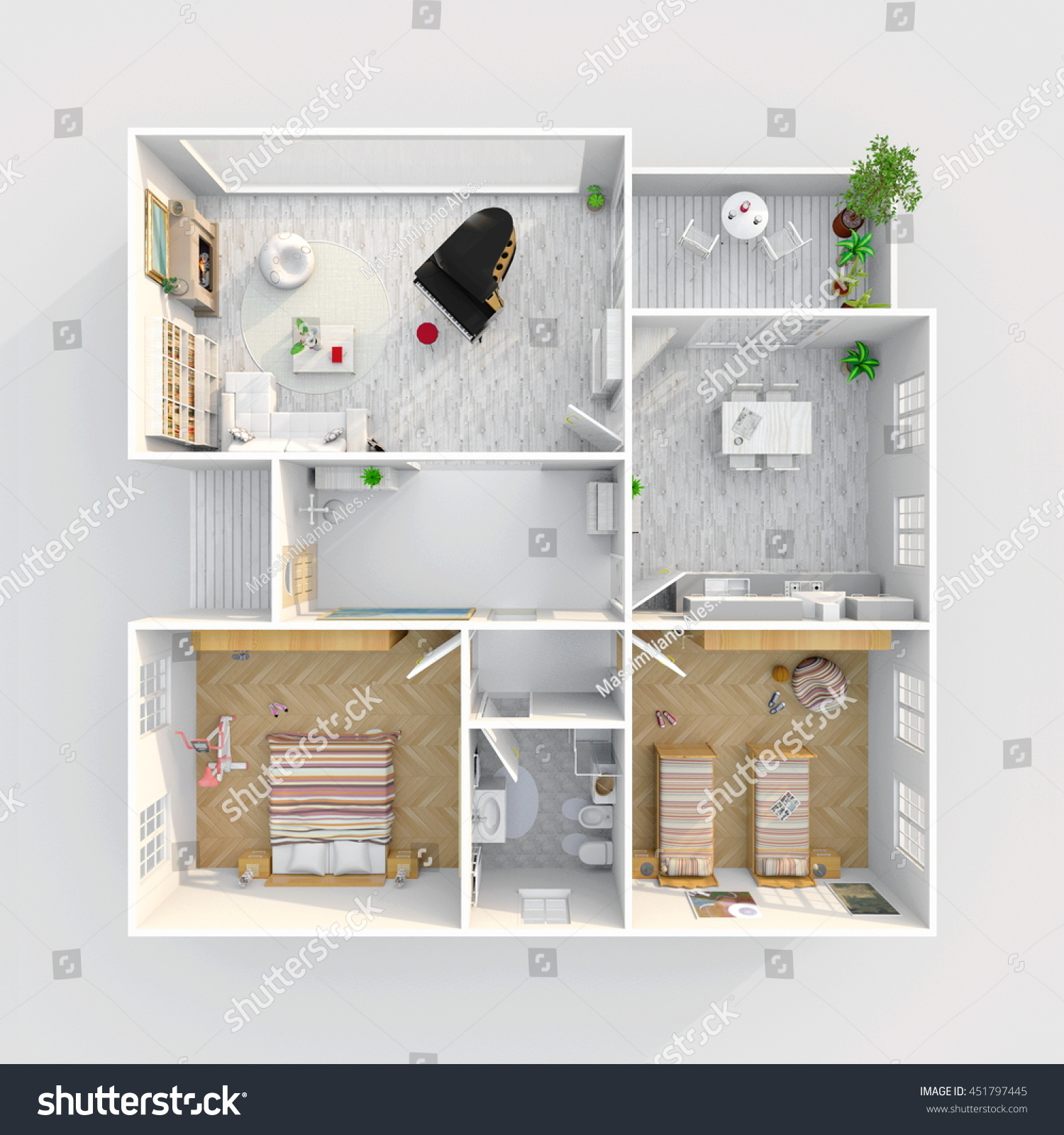 3d Interior Rendering Plan View Furnished Illustrazioni