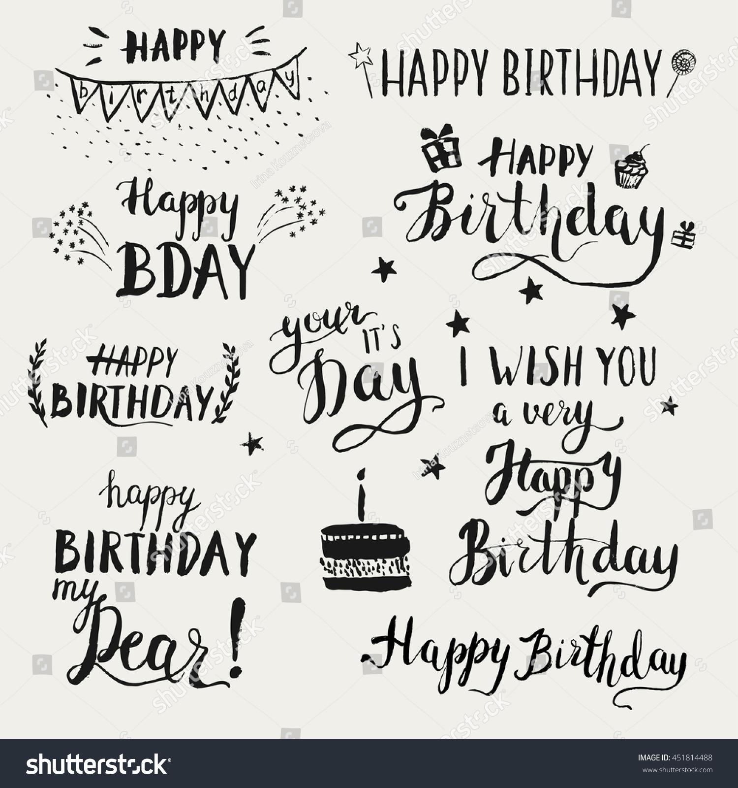 Happy birthday modern brush calligraphy set stock vector