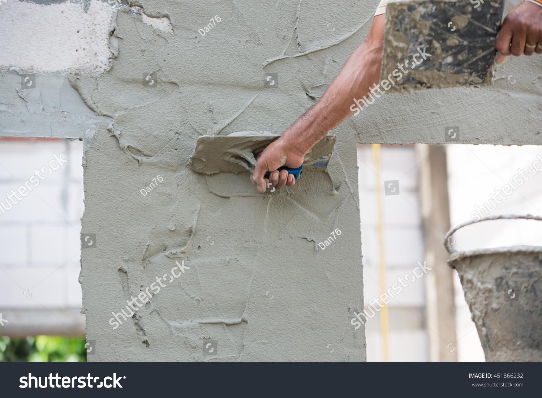 Mason Plastering Concrete Build Wall Construction Stock Photo (Edit