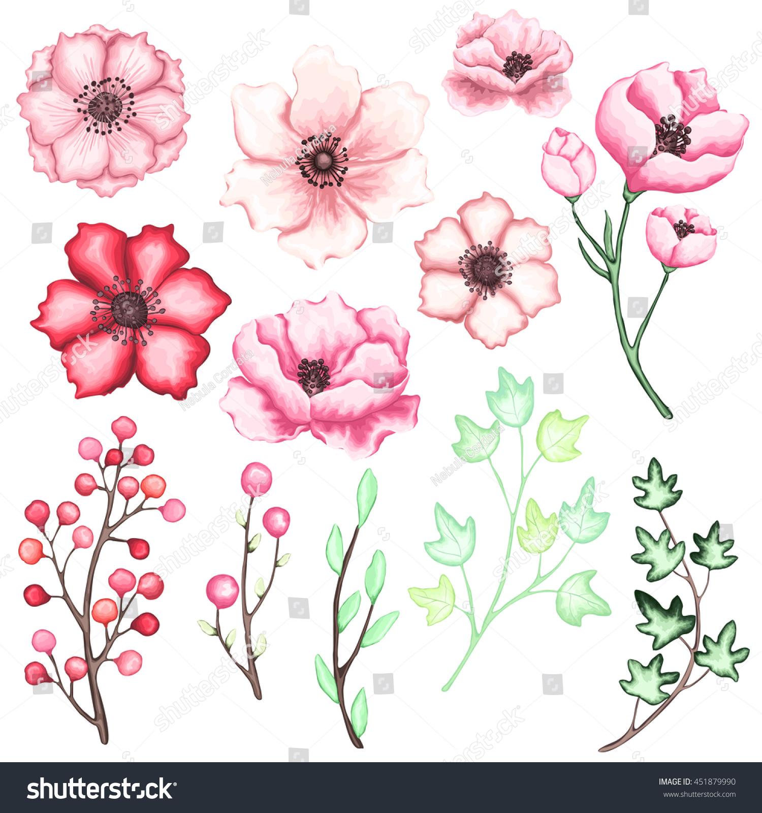Set Pink Red Flowers Berries Green Stock Vector 451879990 Shutterstock