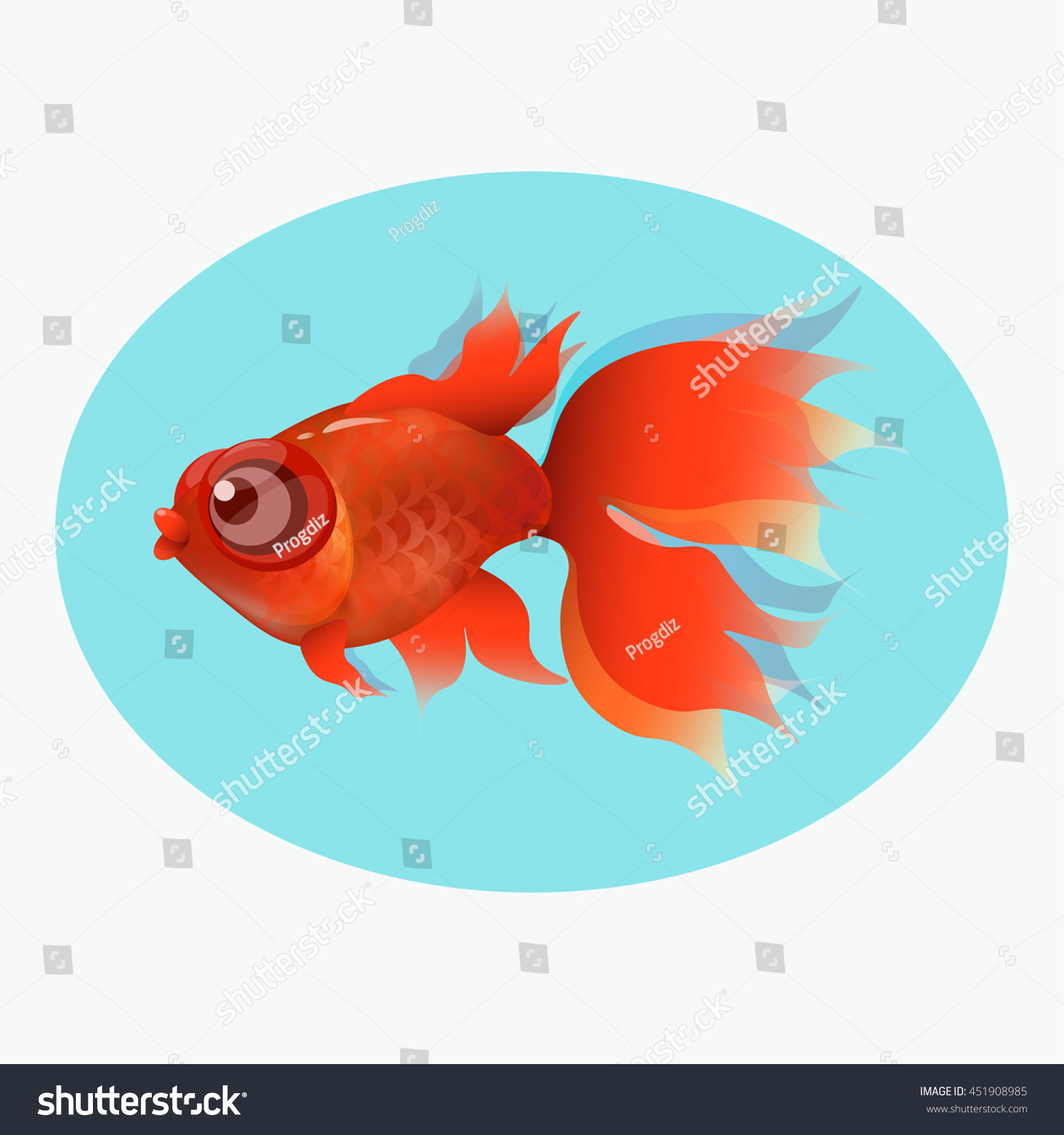 Goldfish Swimming Water Develops Tail Fins Stock Vector 451908985 ...