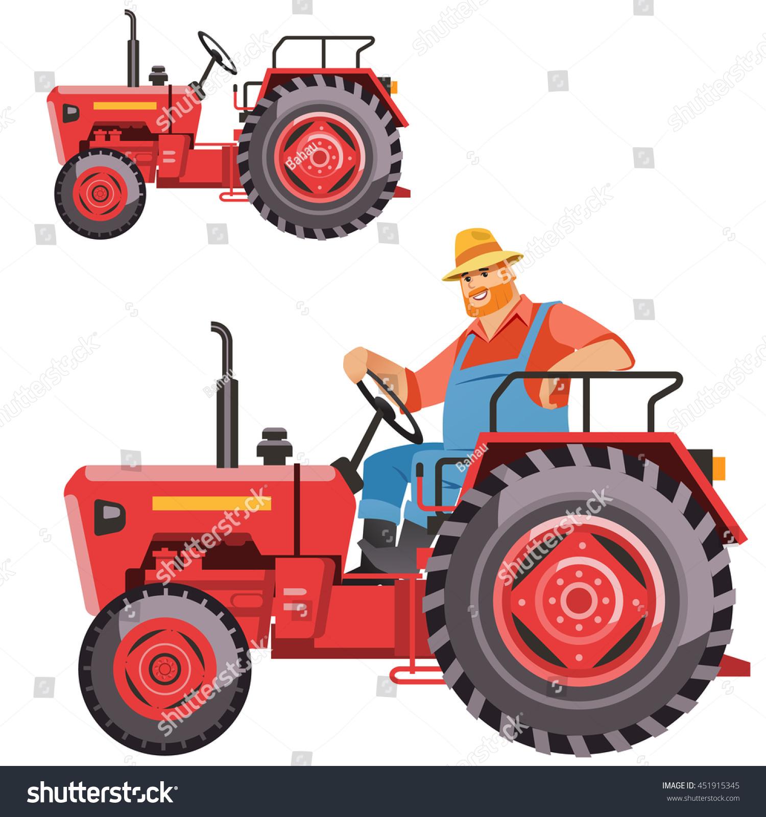 Vintage Tractor Cartoon : Illustration farmer tractor driving vintage stock