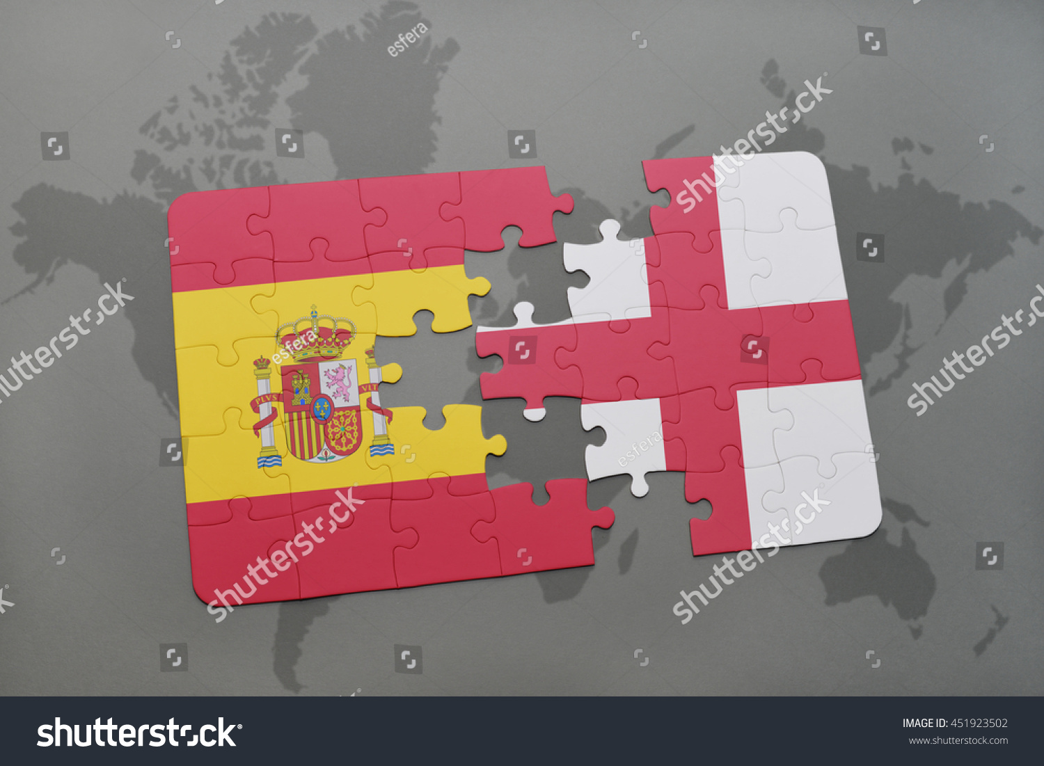 Puzzle national flag spain england on stock illustration 451923502 puzzle with the national flag of spain and england on a world map background 3d gumiabroncs Gallery
