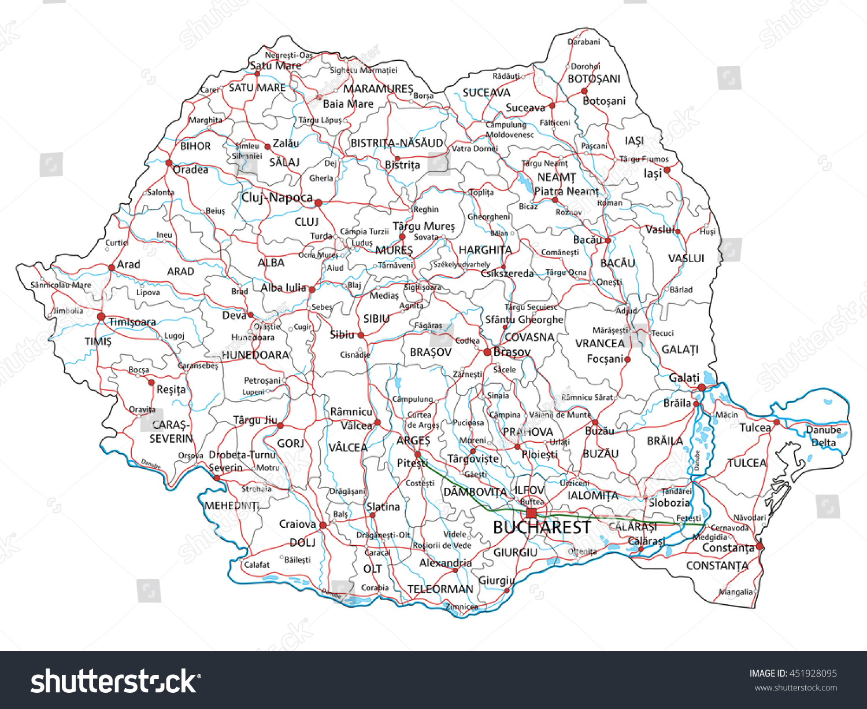 Romania Road Highway Map Vector Illustration Stock Vector HD