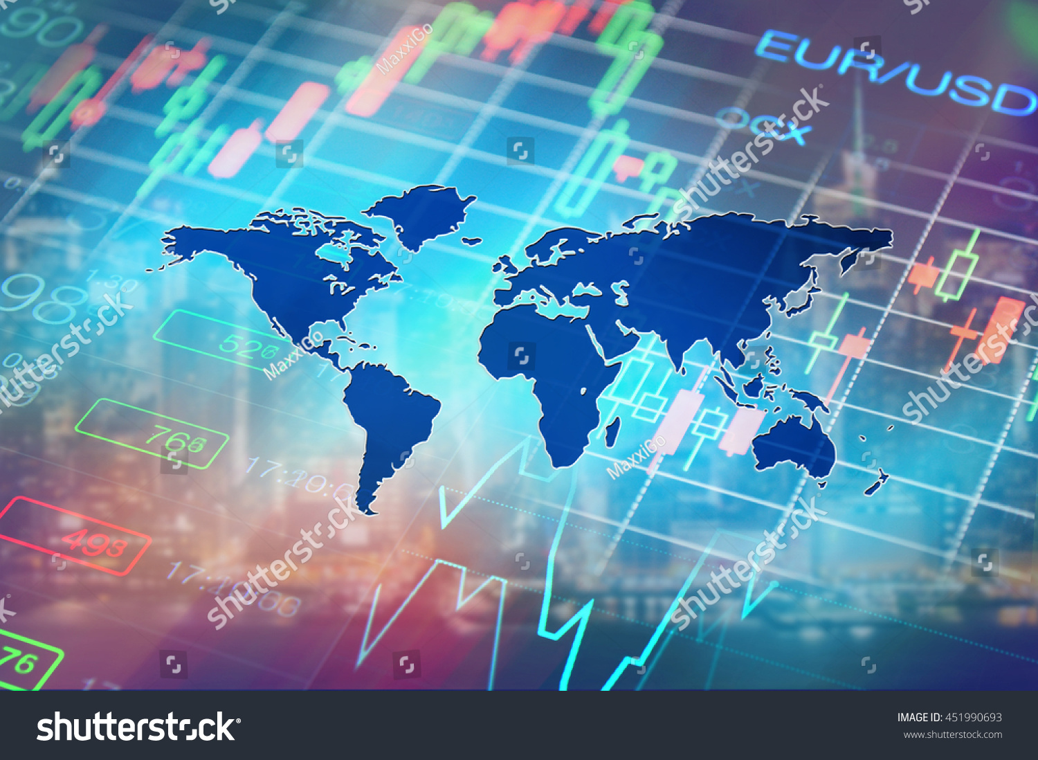 Finance global financial markets concept collage with stock market chart and forex data at world map background Financial abstract background global finance symbolic