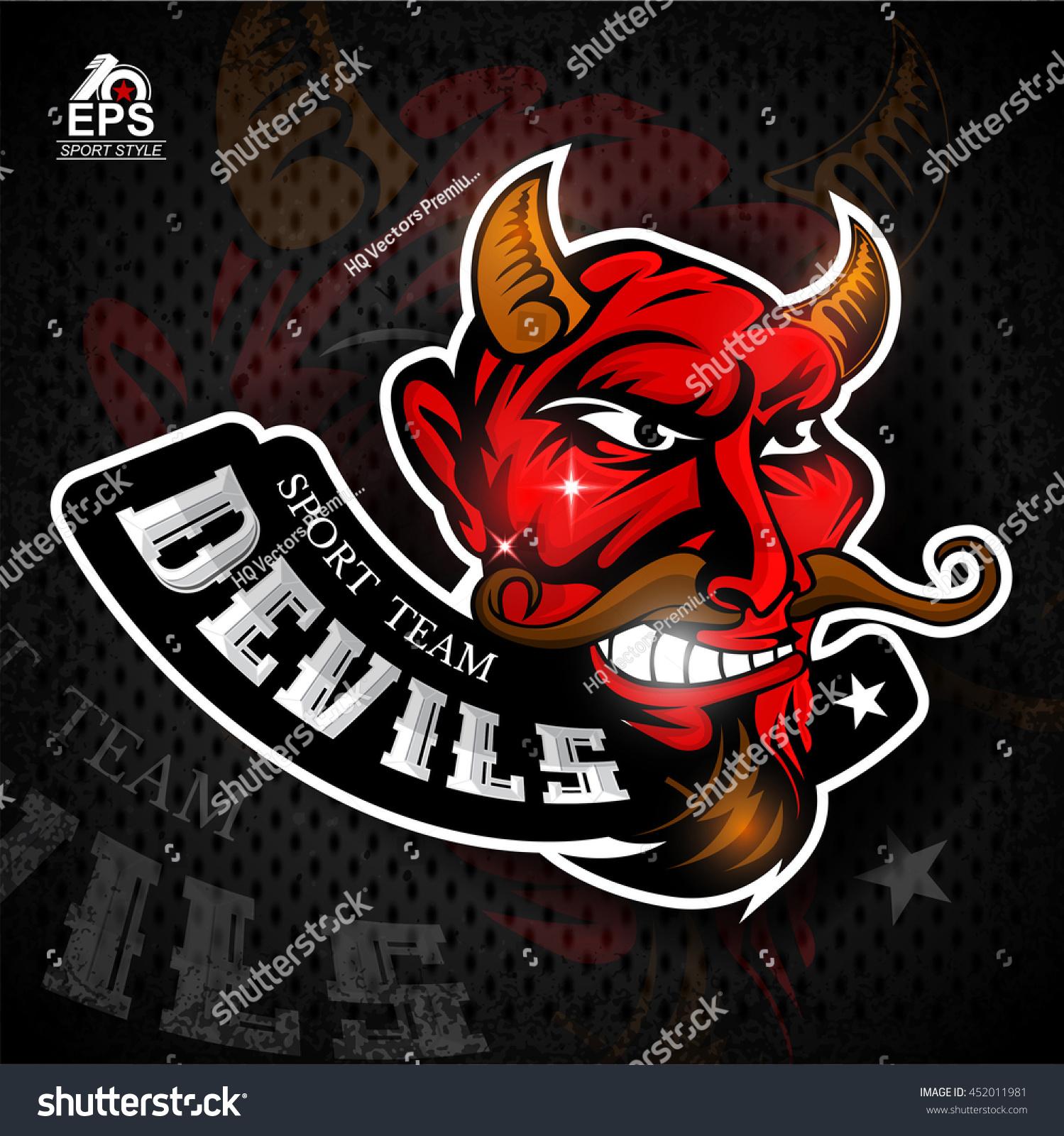 Satan Face Profile Bared Teeth Logo Stock Vector 452011981