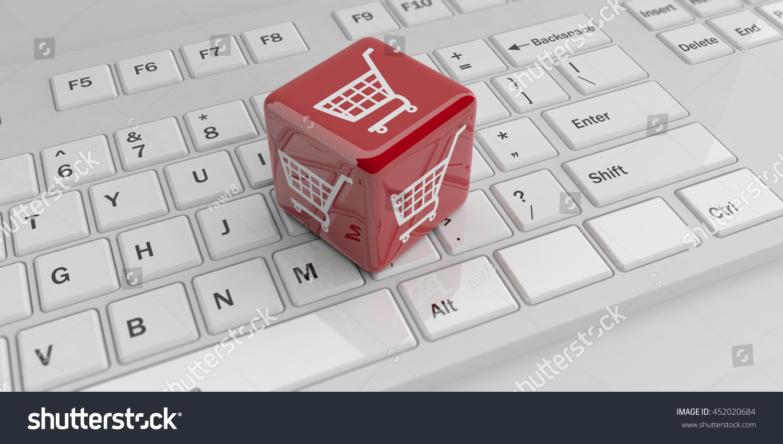 3 D Rendering Cube Ecommerce Symbol On Stock Illustration 452020684
