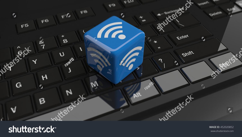 3 D Rendering Cube Wifi Symbol On Stock Illustration 452020852