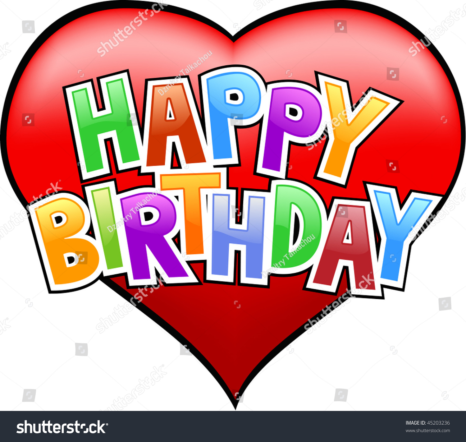 Happy Birthday Letters On Heart Isolated Stock Vector Royalty Free