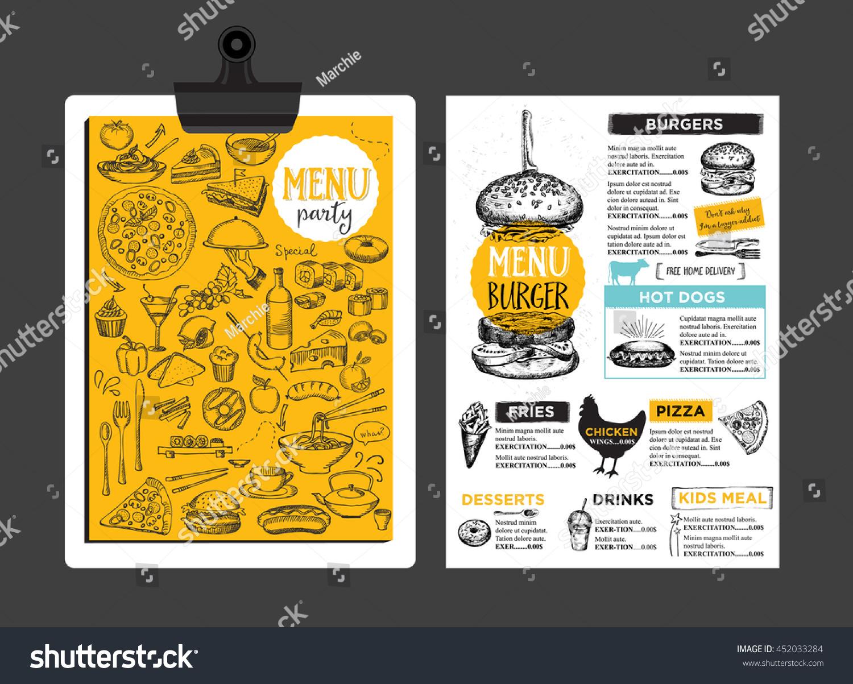 Menu Placemat Food Restaurant Brochure Template Stock Vector