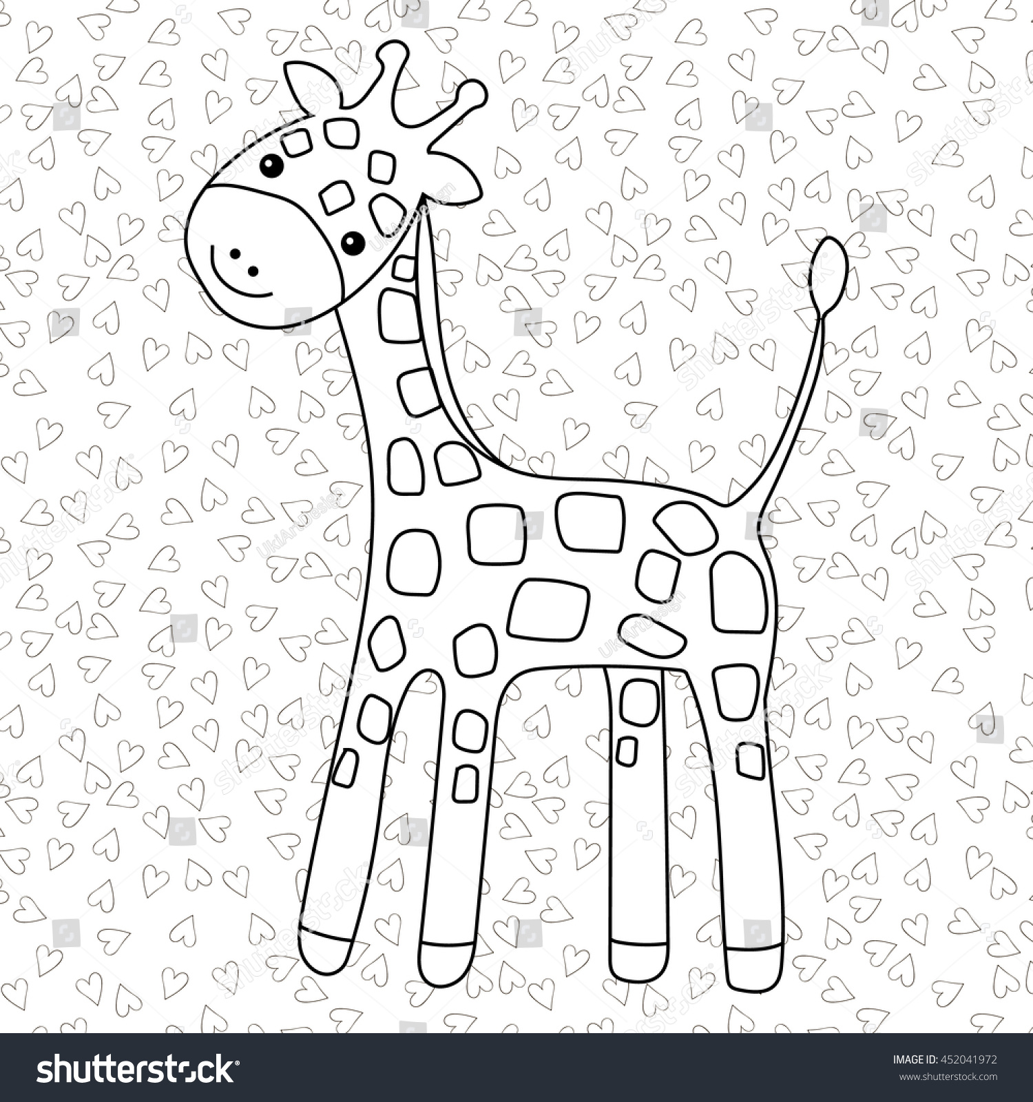 Coloring Page Little Cute Giraffe Stands Stock Vector 452041972 ...