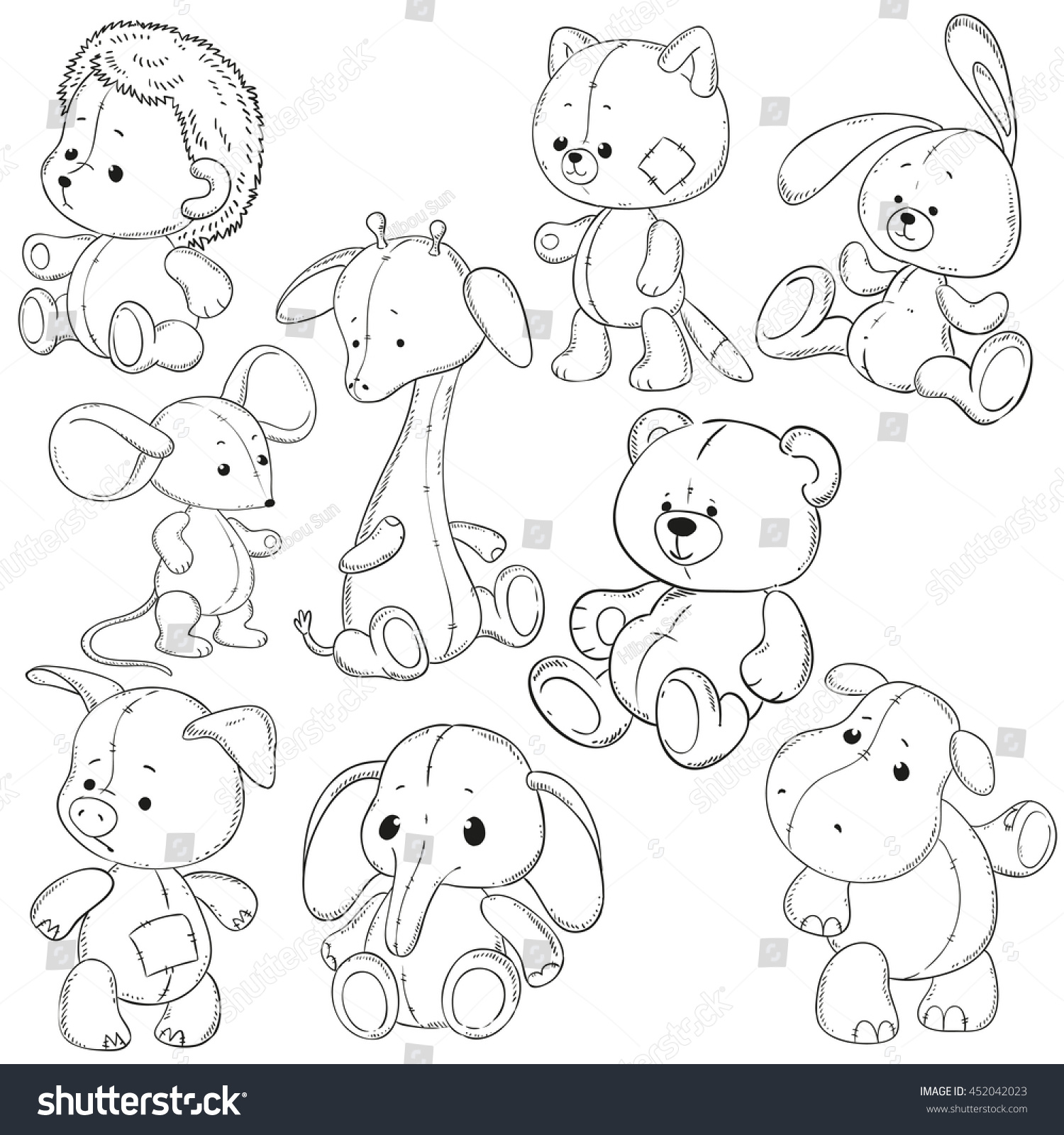 collection stuffed animals soft toys coloring stock vector
