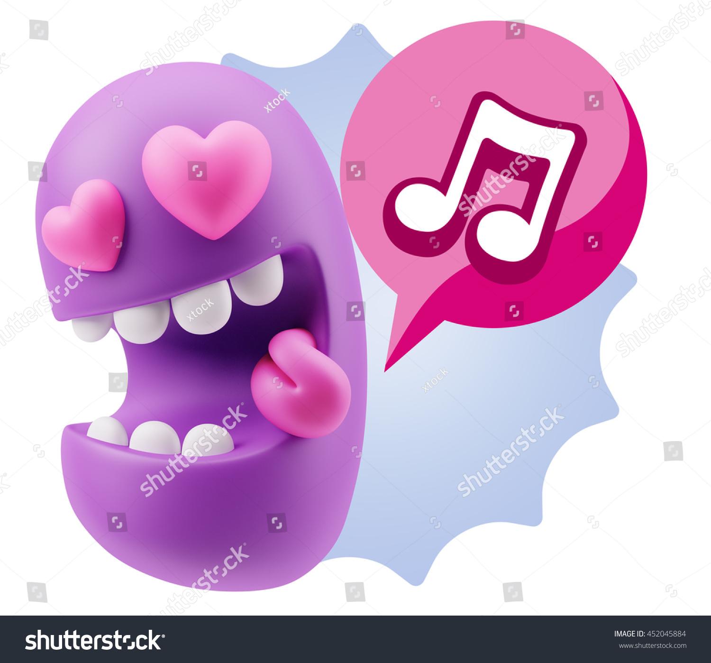 3 D Rendering Emoji Saying Music Symbol Stock Illustration 452045884