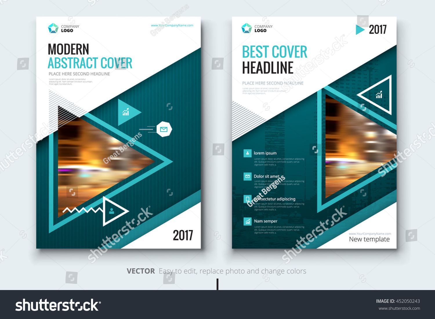 Teal Modern Catalog Design Corporate Business Stock Vector
