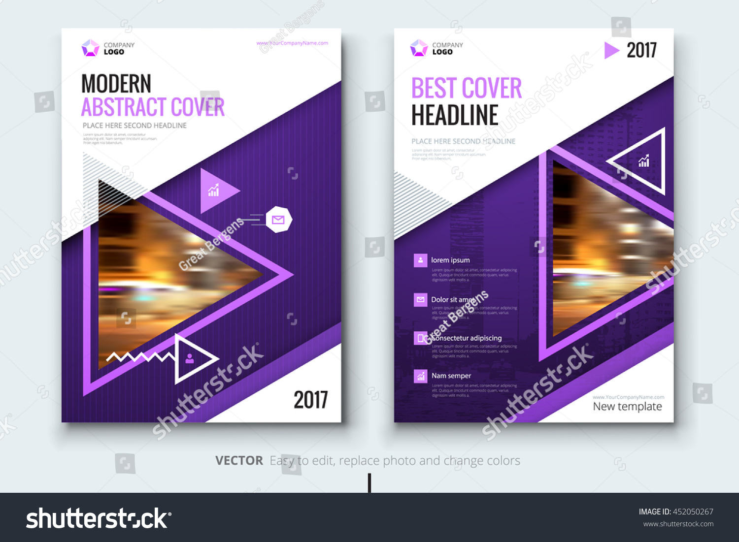 Purple modern magazine design corporate business stock Modern design magazine