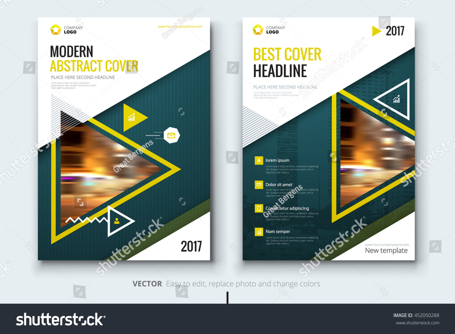 modern brochure template - yellow cover design corporate business template stock