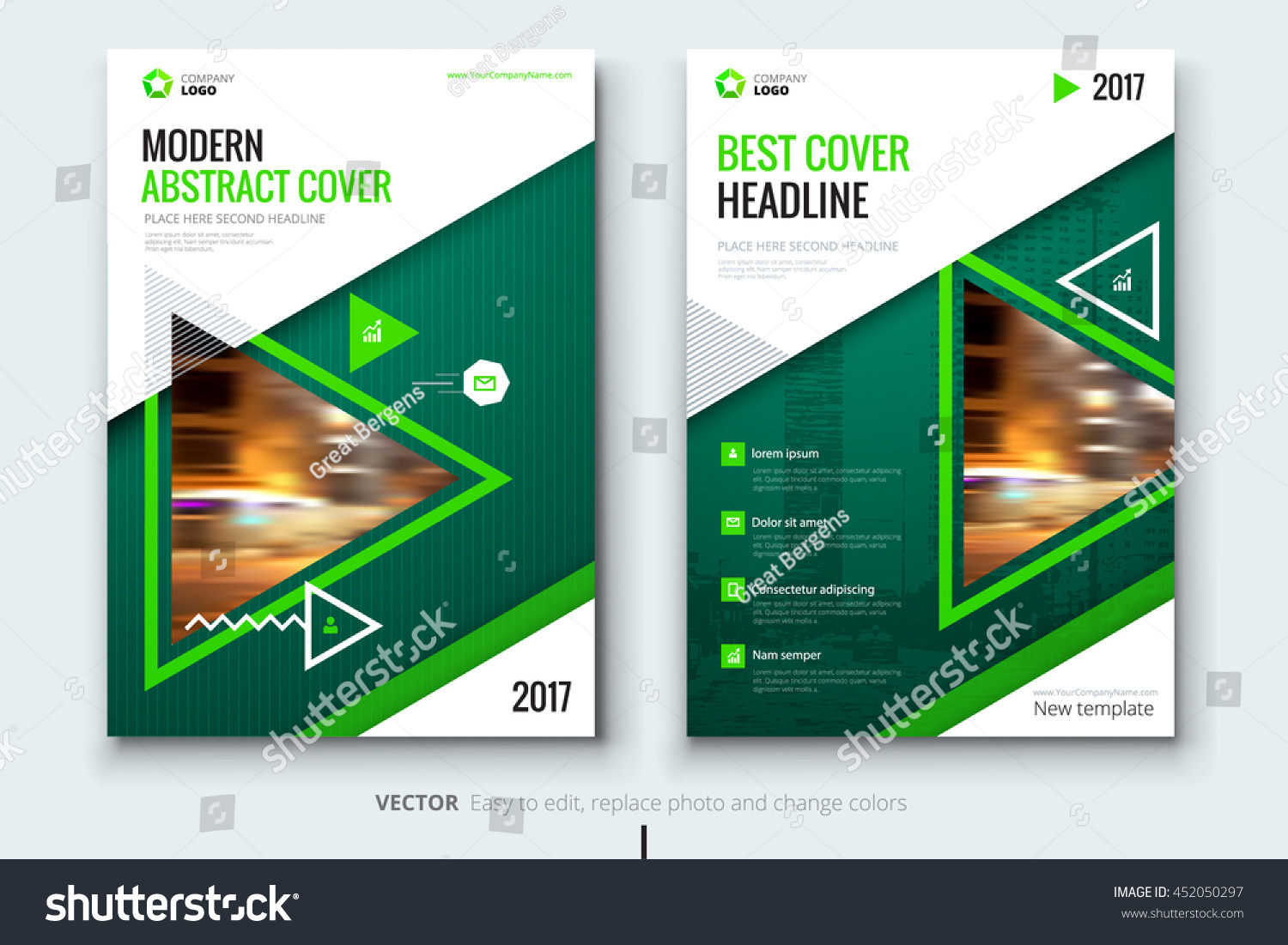Green brochure template corporate business design stock for Managed services brochure template