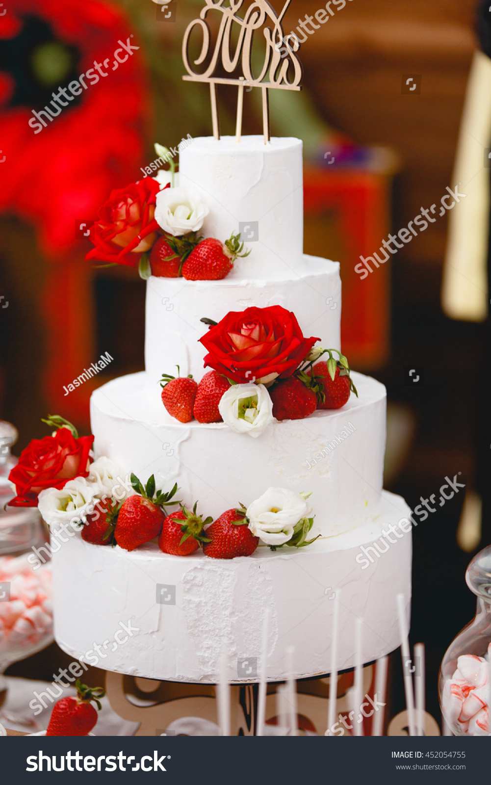 White Wedding Cake With Flowers And Fruits Ez Canvas