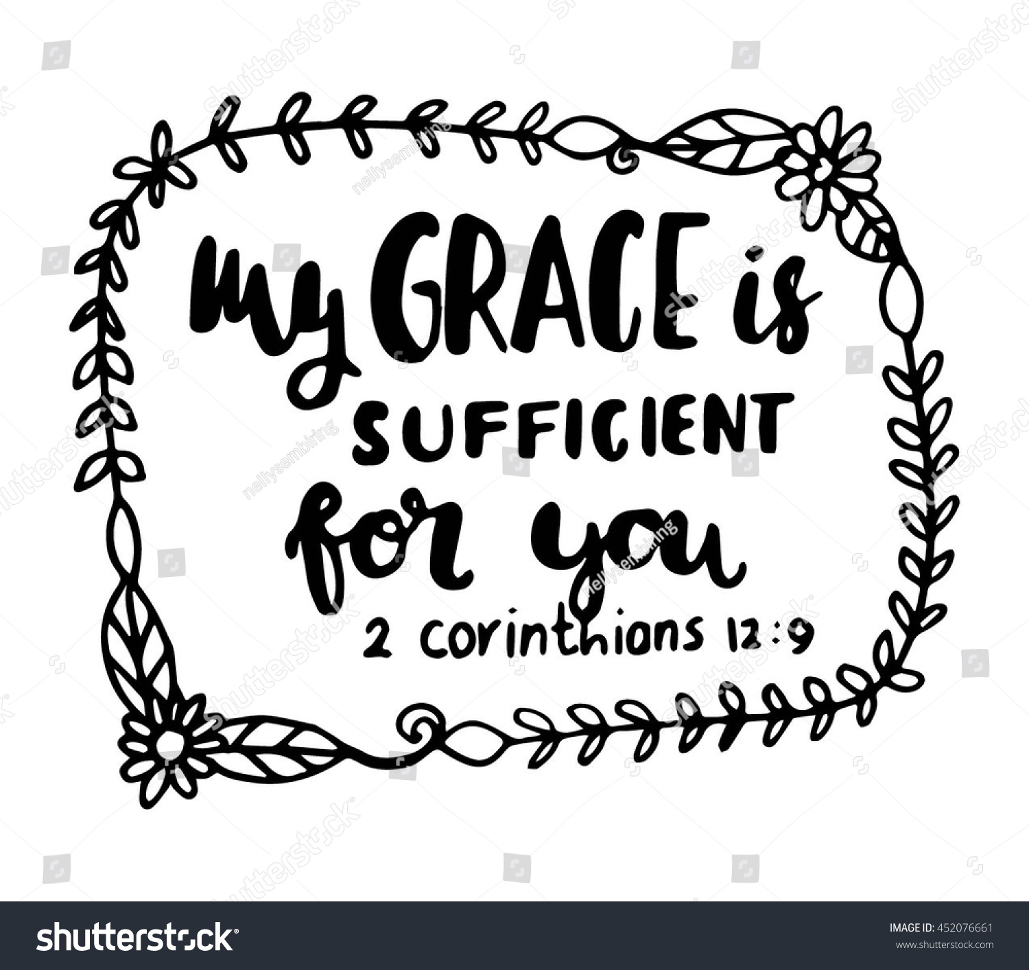 My Grace Sufficient You On White Stock Vector 452076661
