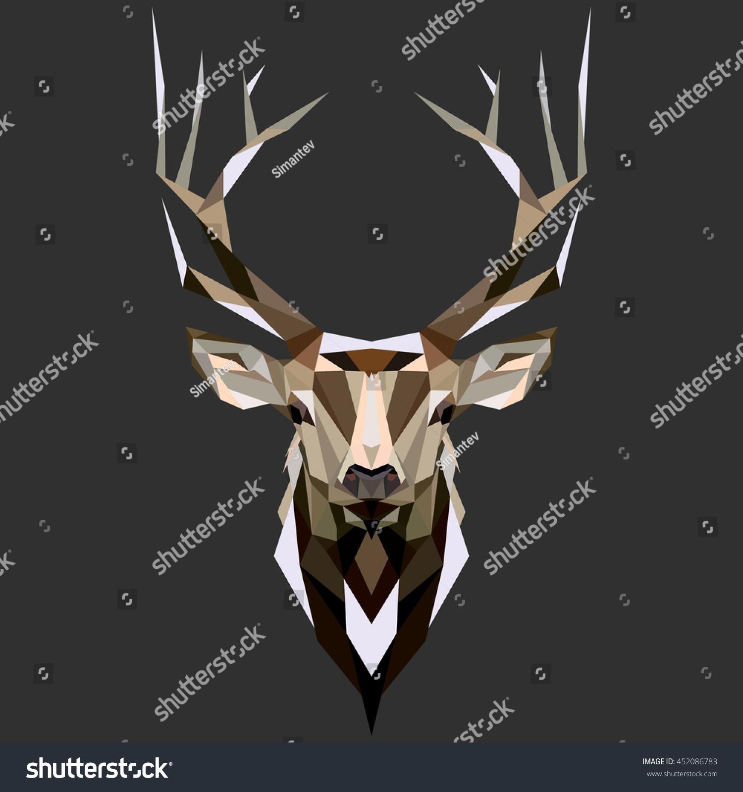 Deer Low poly deer Low poly illustration deer Polygonal deer