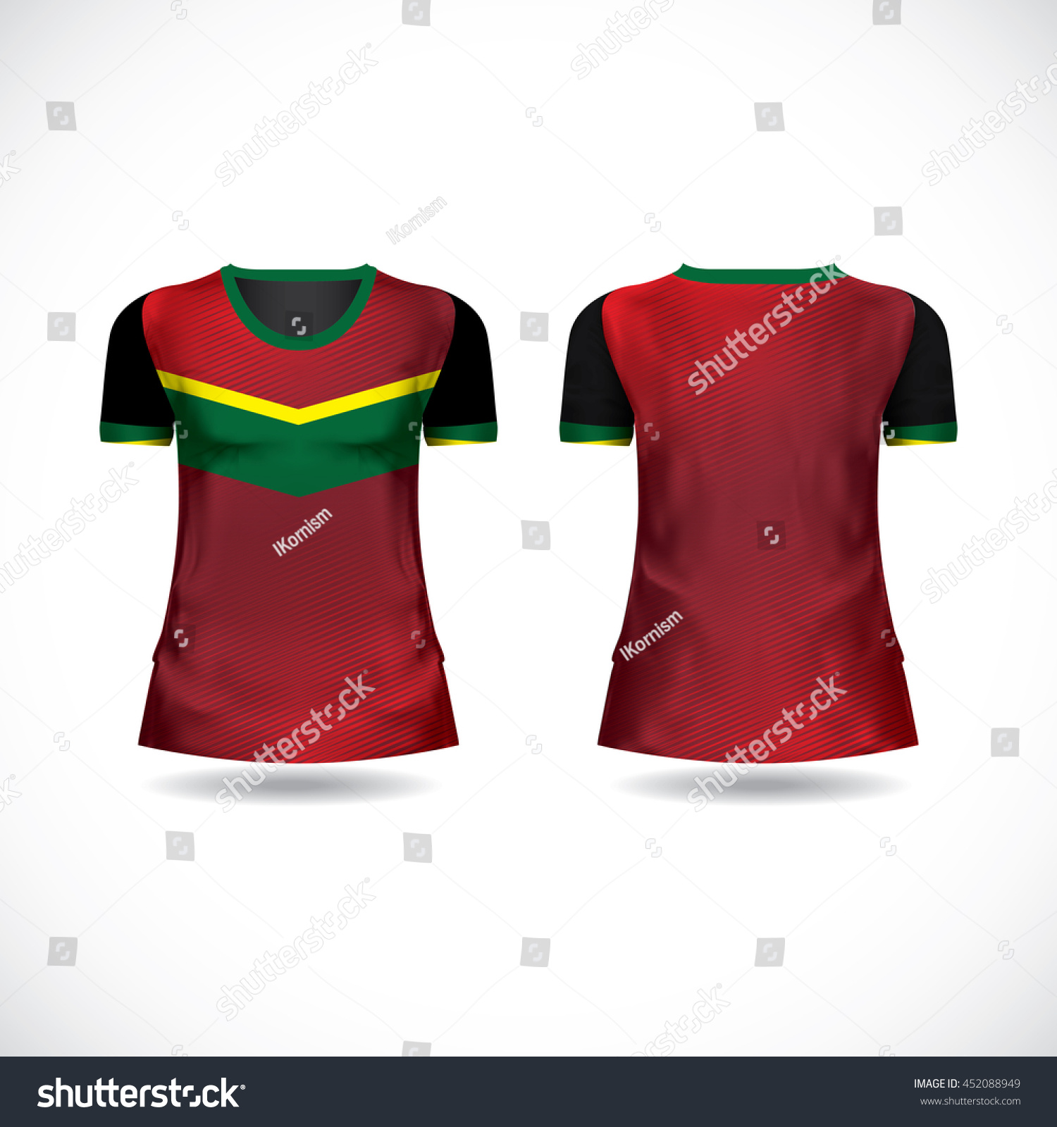 T Shirt Design Kit Jersey Red Green Yellow Color