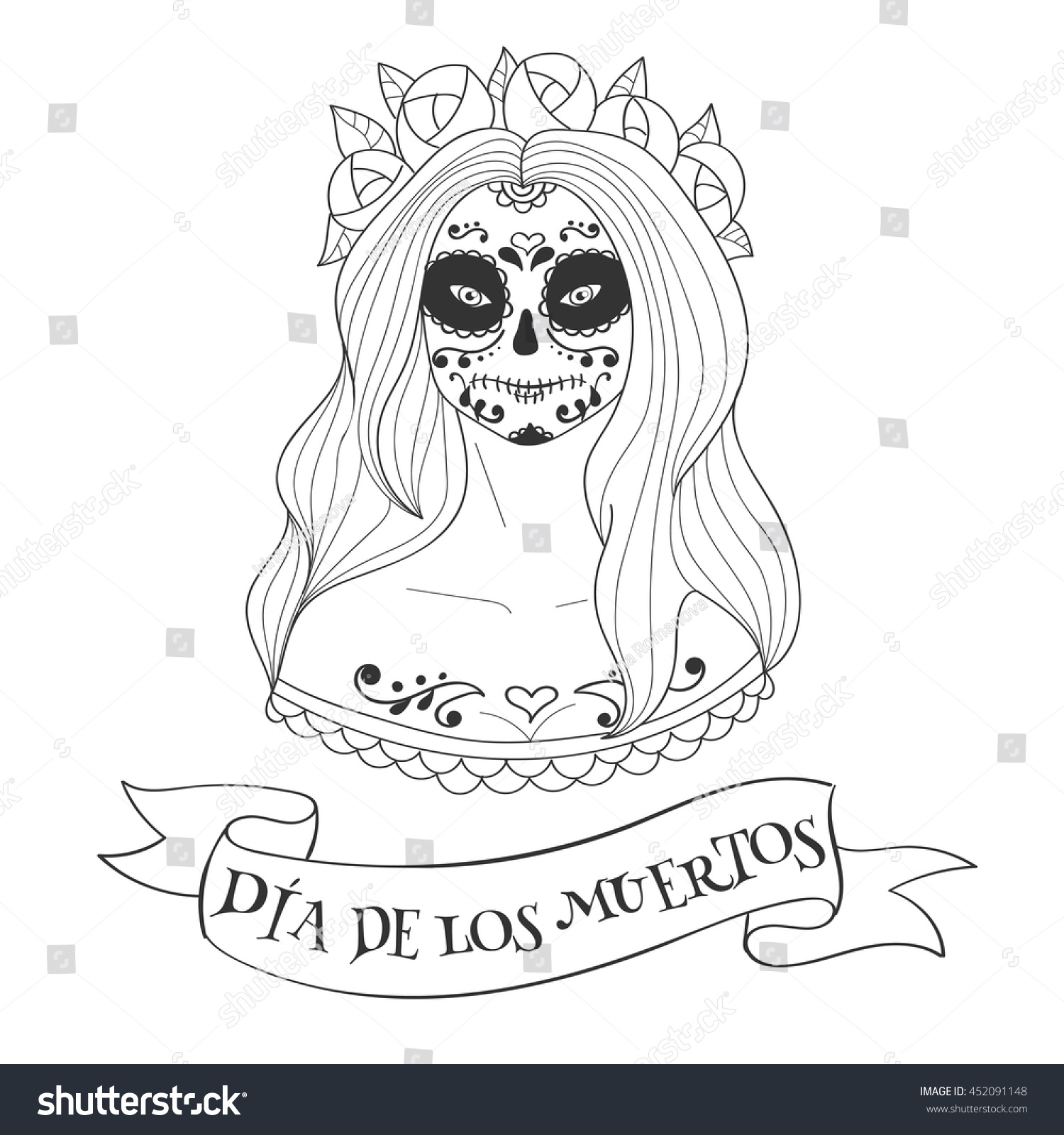 Sugar Skull Woman Day Dead Template Stock Vector Royalty Free