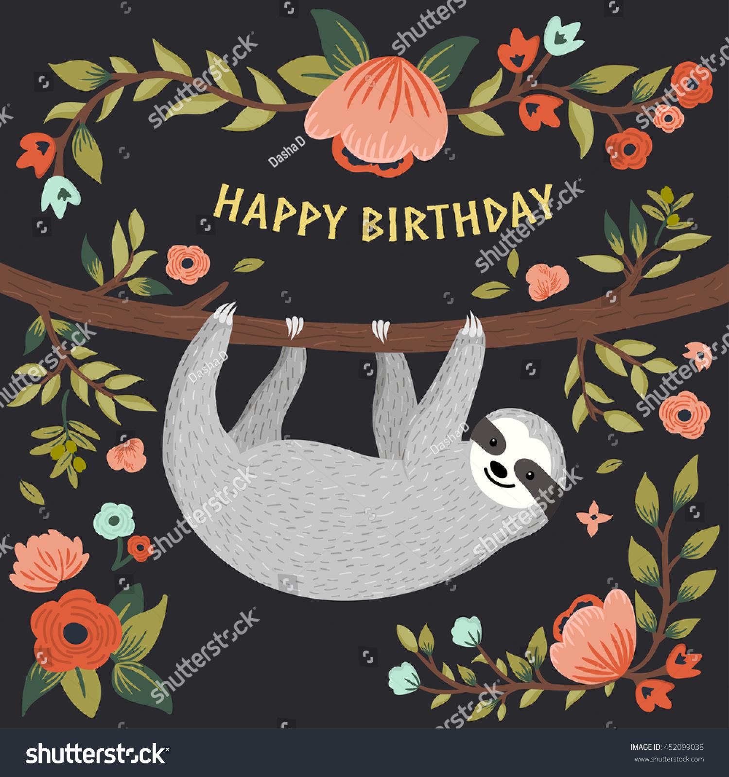 vector happy birthday card cute sloth stock vector, Birthday card