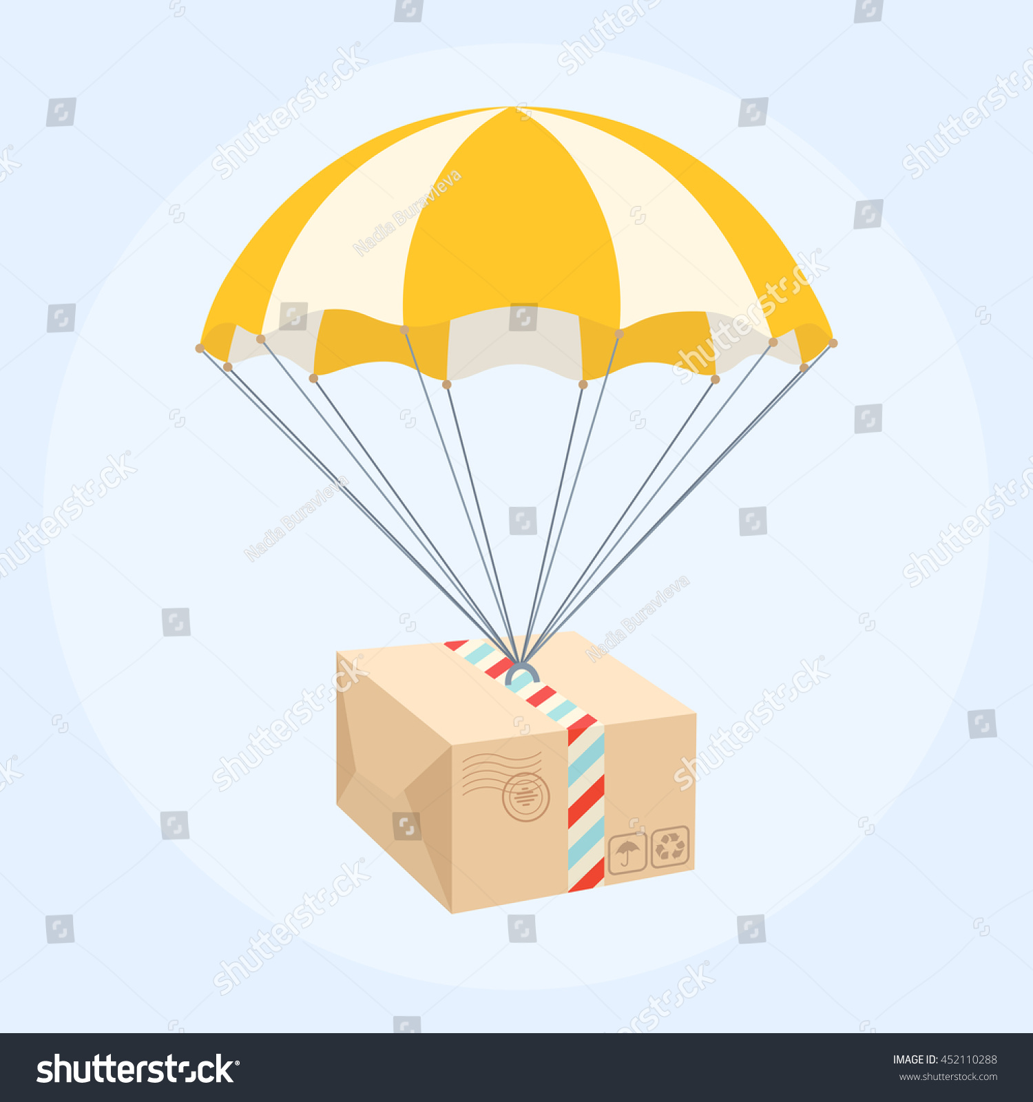 Package flying on parachute Air shipping Box vector icon Delivery service concept Flat style