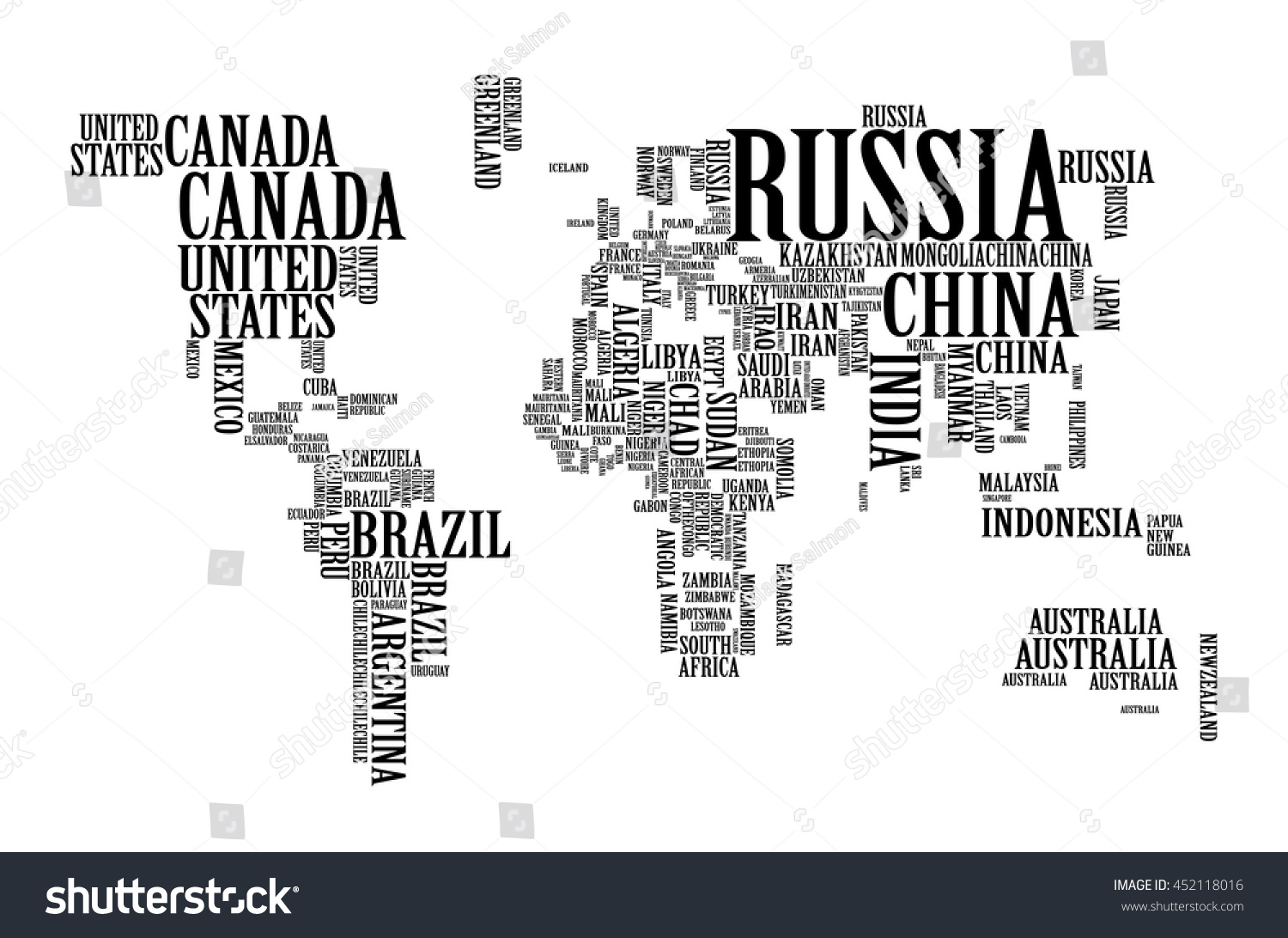 World map countries name text typography stock vector royalty free world map with countries name text or typography gumiabroncs Image collections