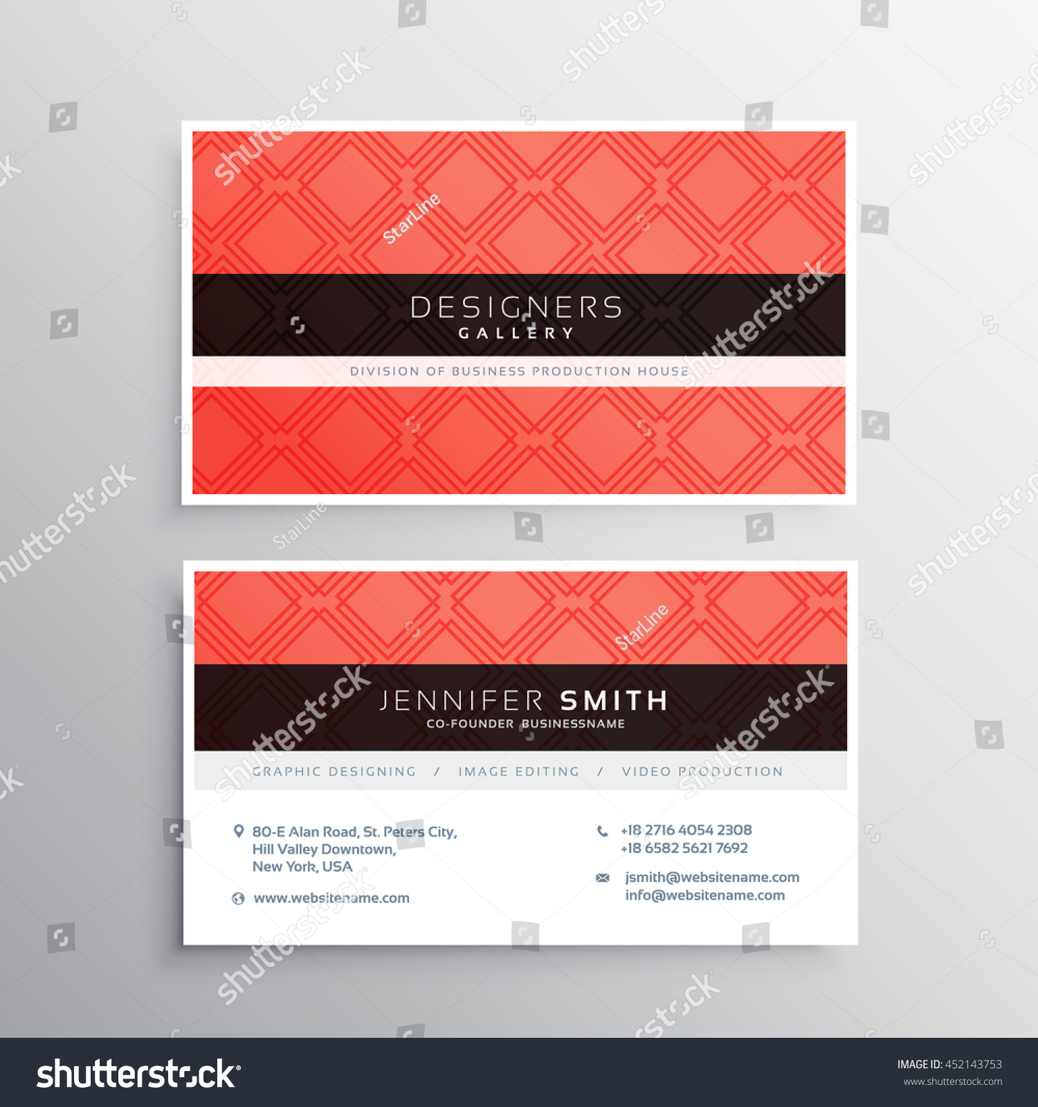 Red Business Identity Card Template Stock Vector 452143753 ...