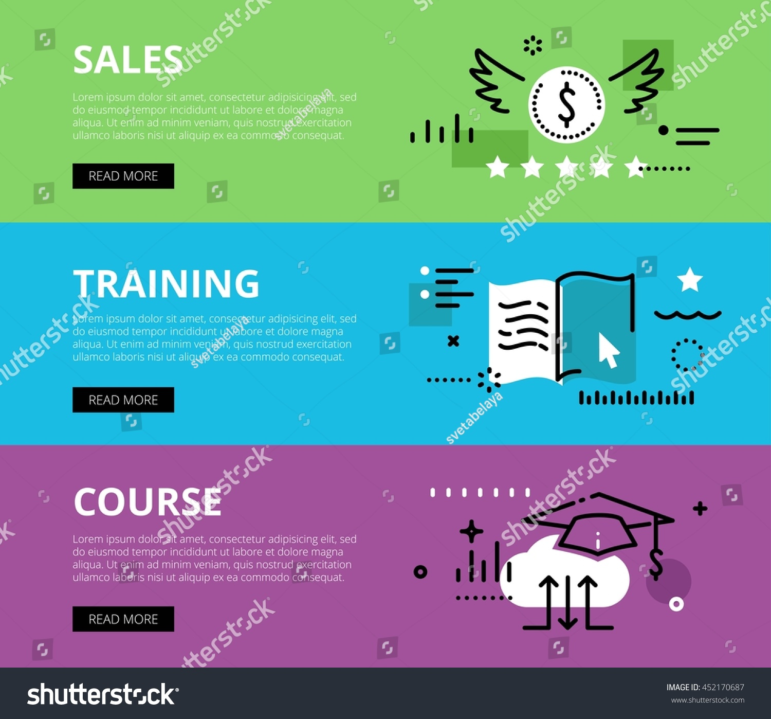 Flat Line Web Banners Sales Training Stock Vector 452170687