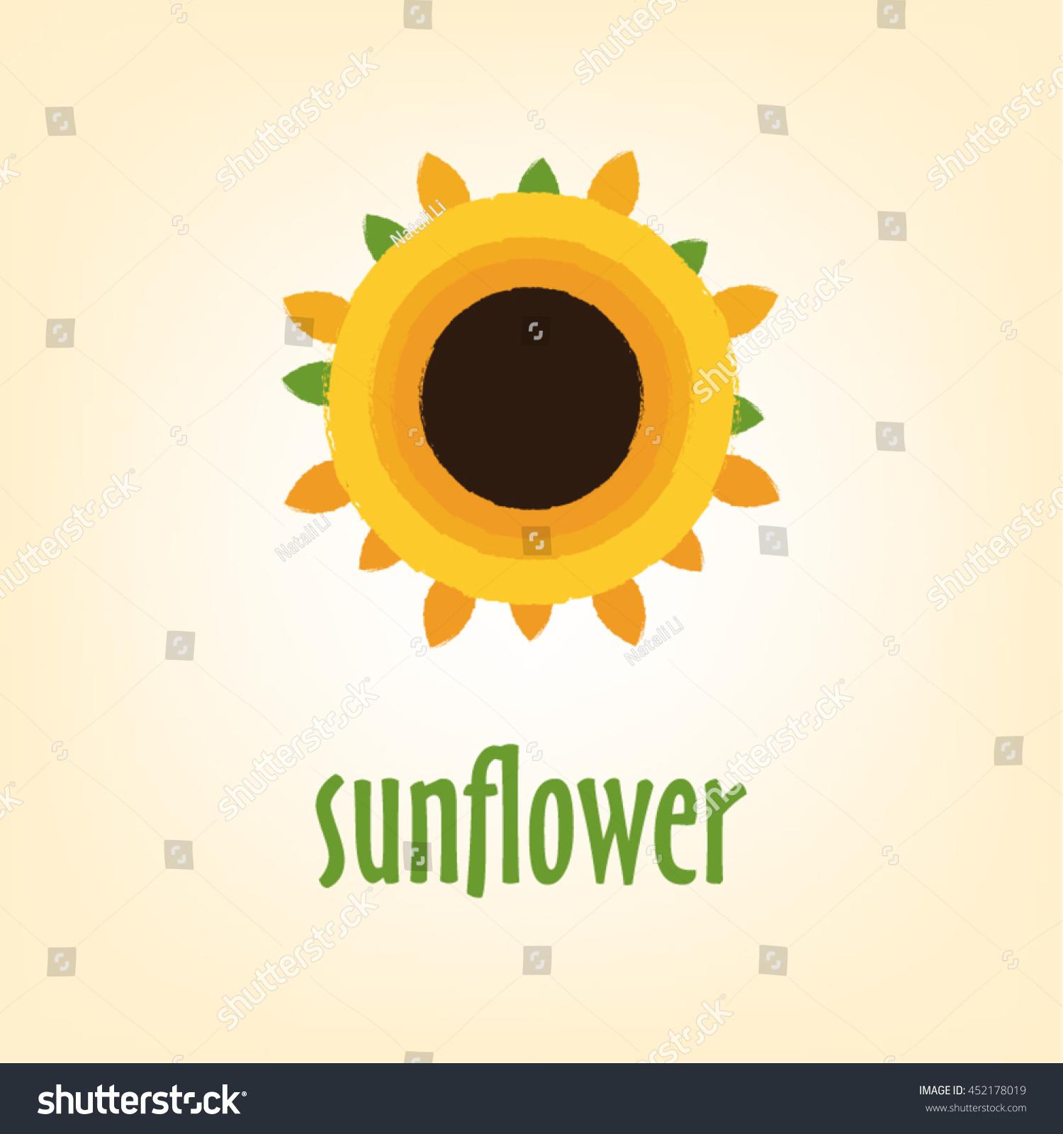 Logo Sunflower Yellowflower Sun Summer Warm Stock Vector Royalty