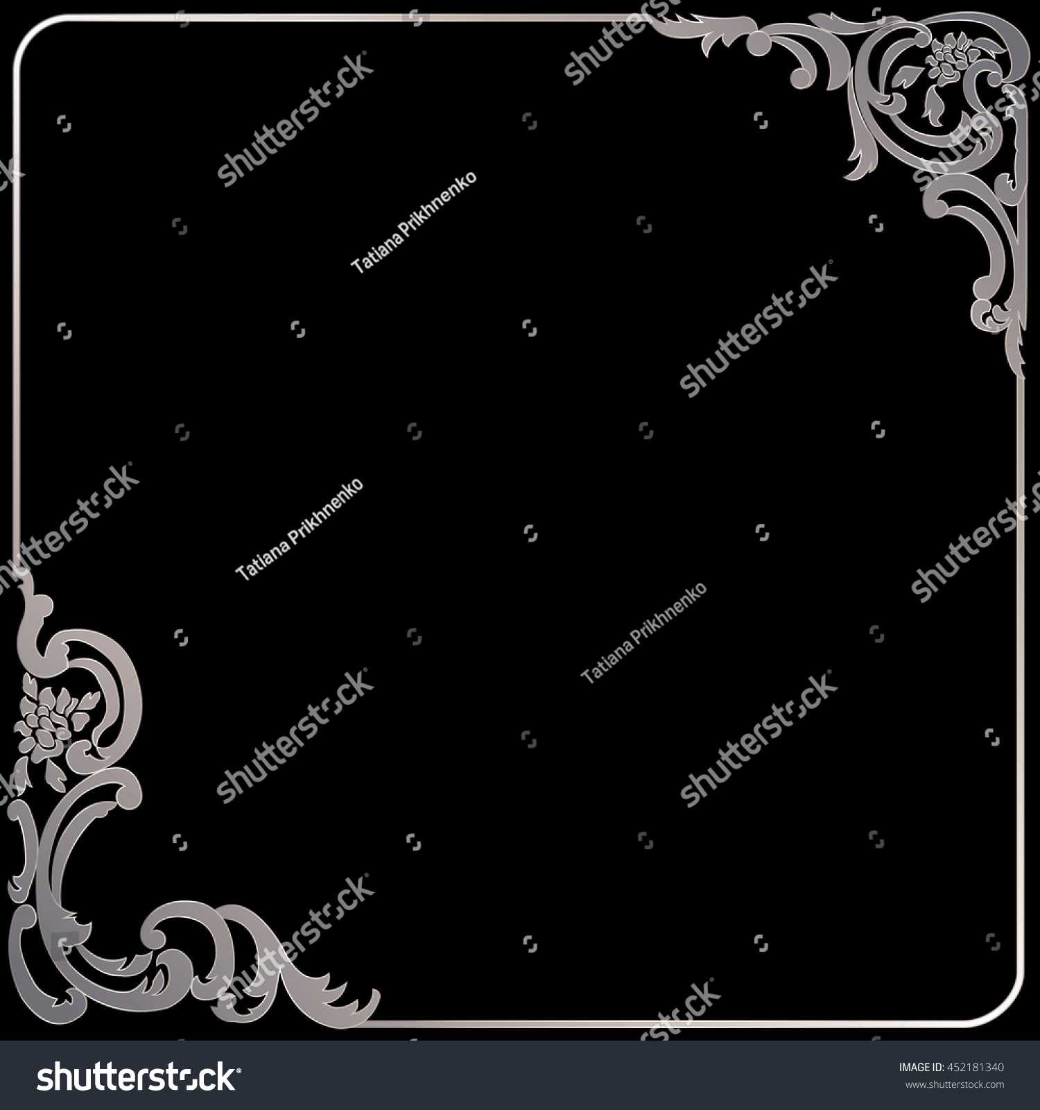 Silver vintage frame in baroque style on a black background