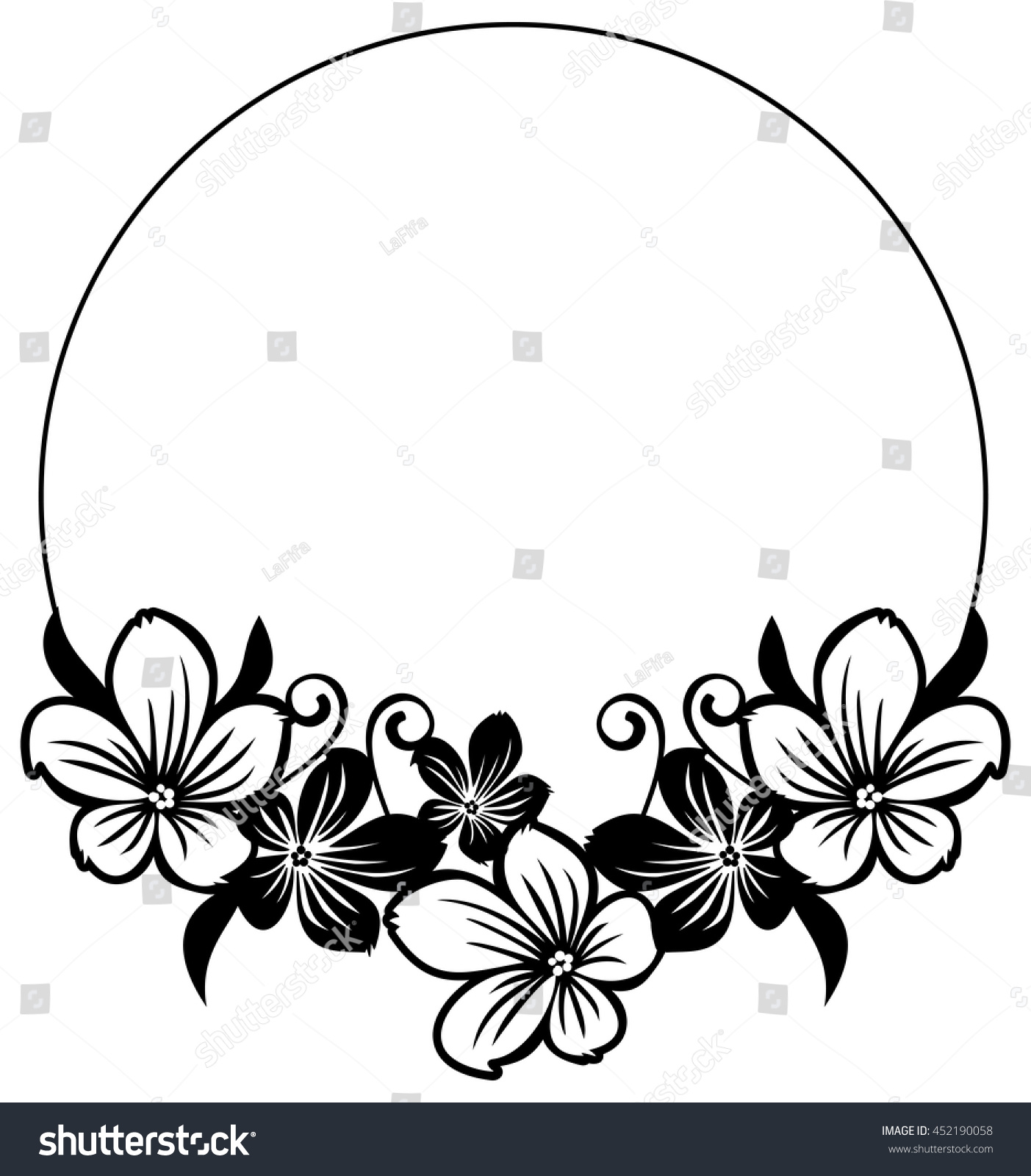 Black White Round Frame Abstract Flowers Stock Vector Royalty Free
