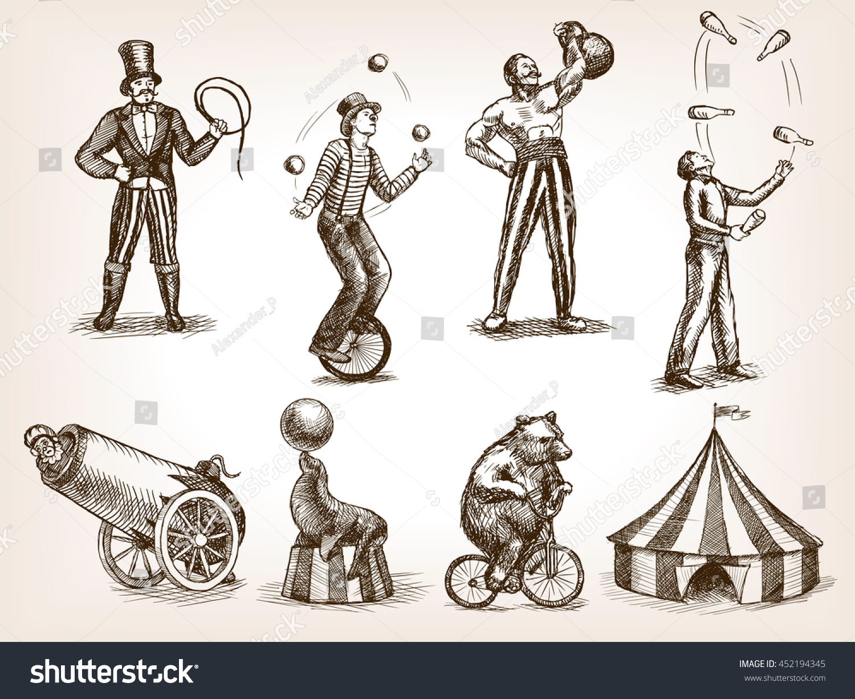 Retro Circus Performance Set Sketch Style Stock ...