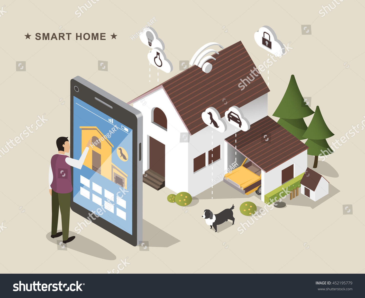 3d Isometric Flat Design Smart Home Stock Vector 452195779