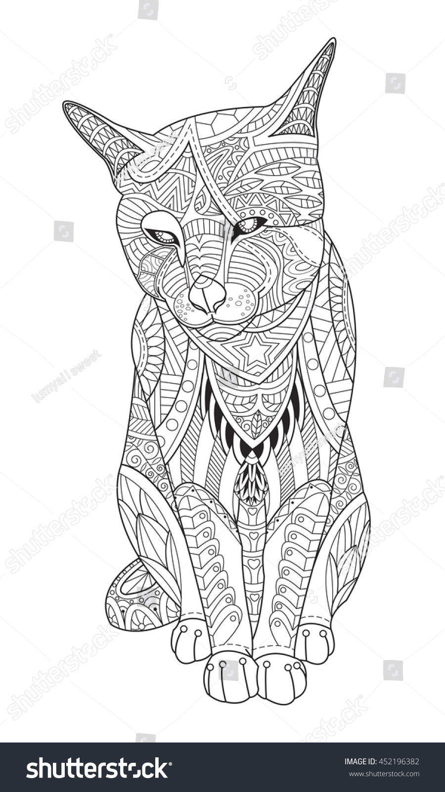 Drawing Cat For The Coloring Book Adults Vector Illustration In Zentangle Style Isolated