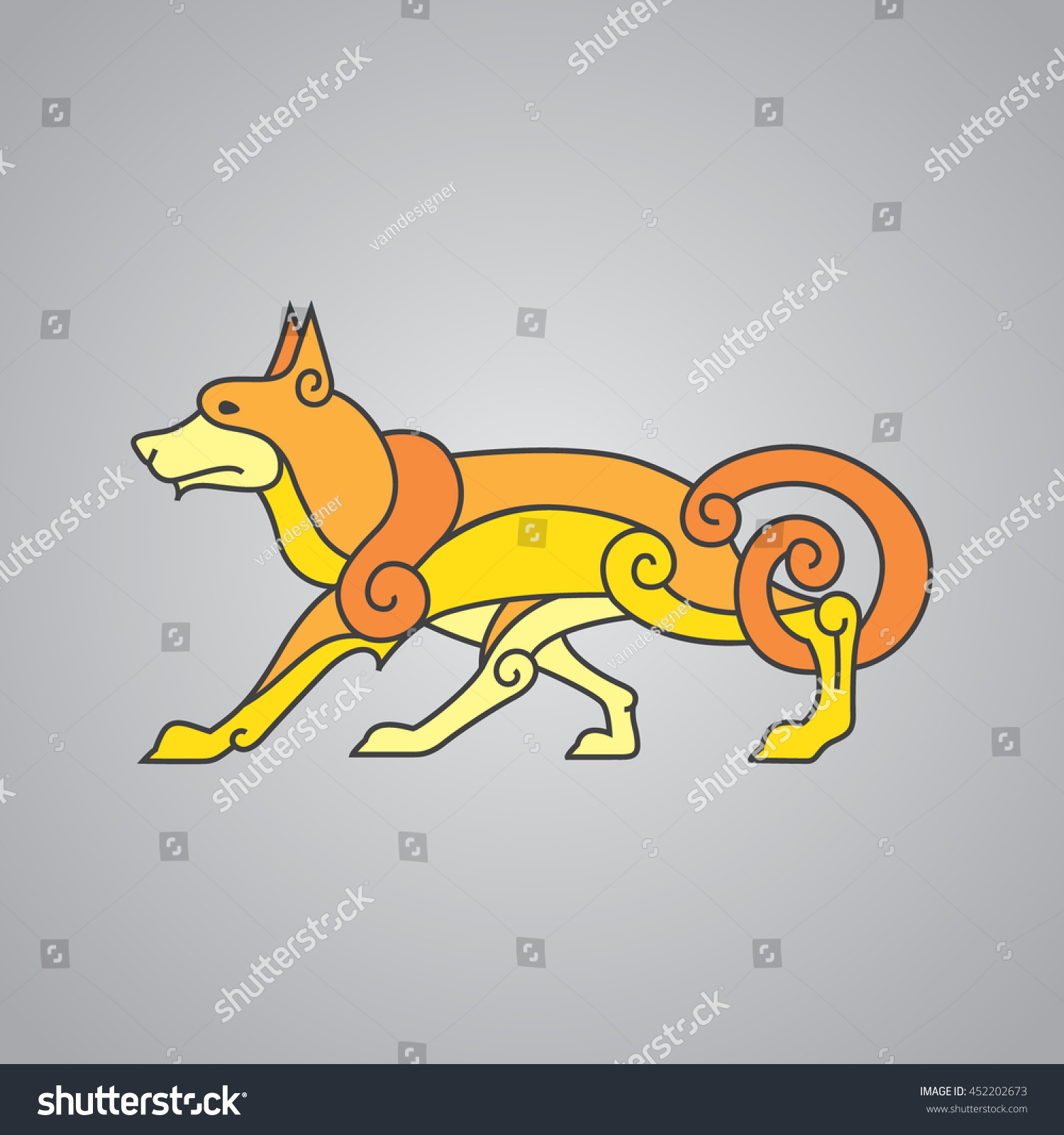 Ancient Celtic Symbol Wolf Dog Stock Vector Royalty Free 452202673