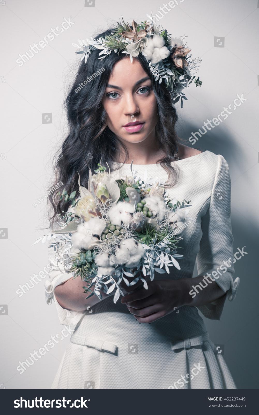 Bride winter inspired bouquet flower crown stock photo edit now bride with winter inspired bouquet and flower crown izmirmasajfo