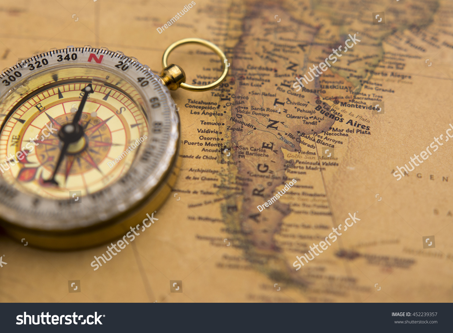 Old Compass On Vintage Map Selective Stock Photo - Argentina map vintage
