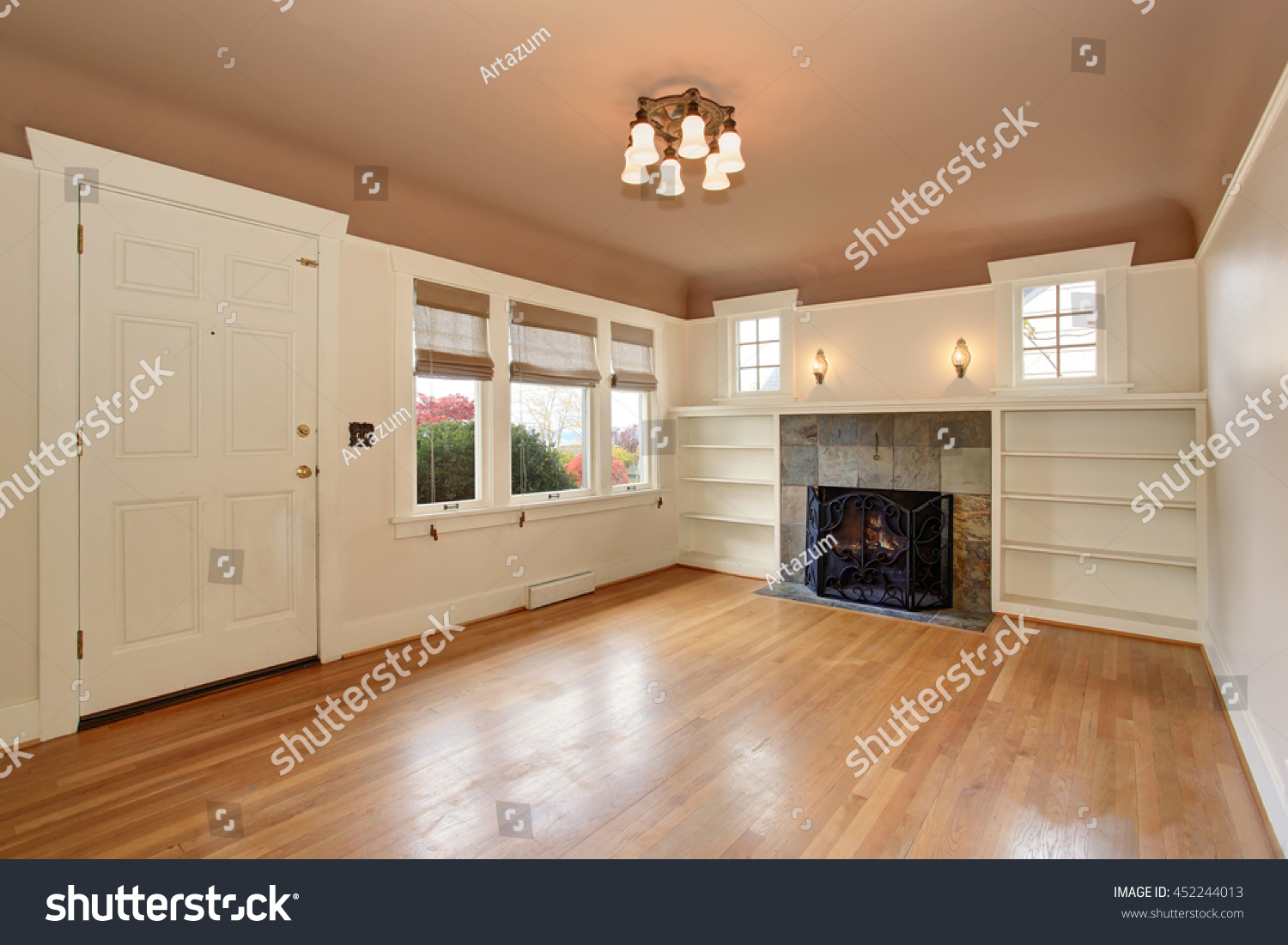 Empty Living Room Interior With Mocha Ceiling Hardwood Floor And