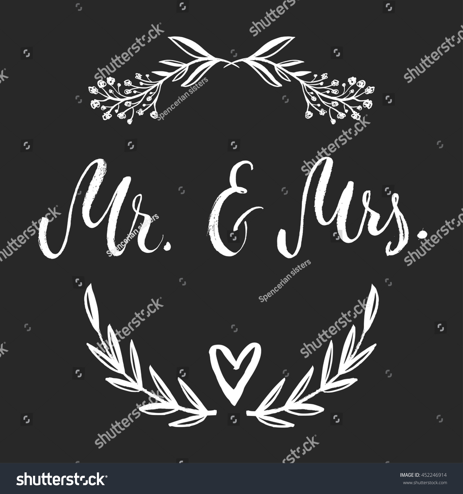 Mr mrs card vector isolated hand stock