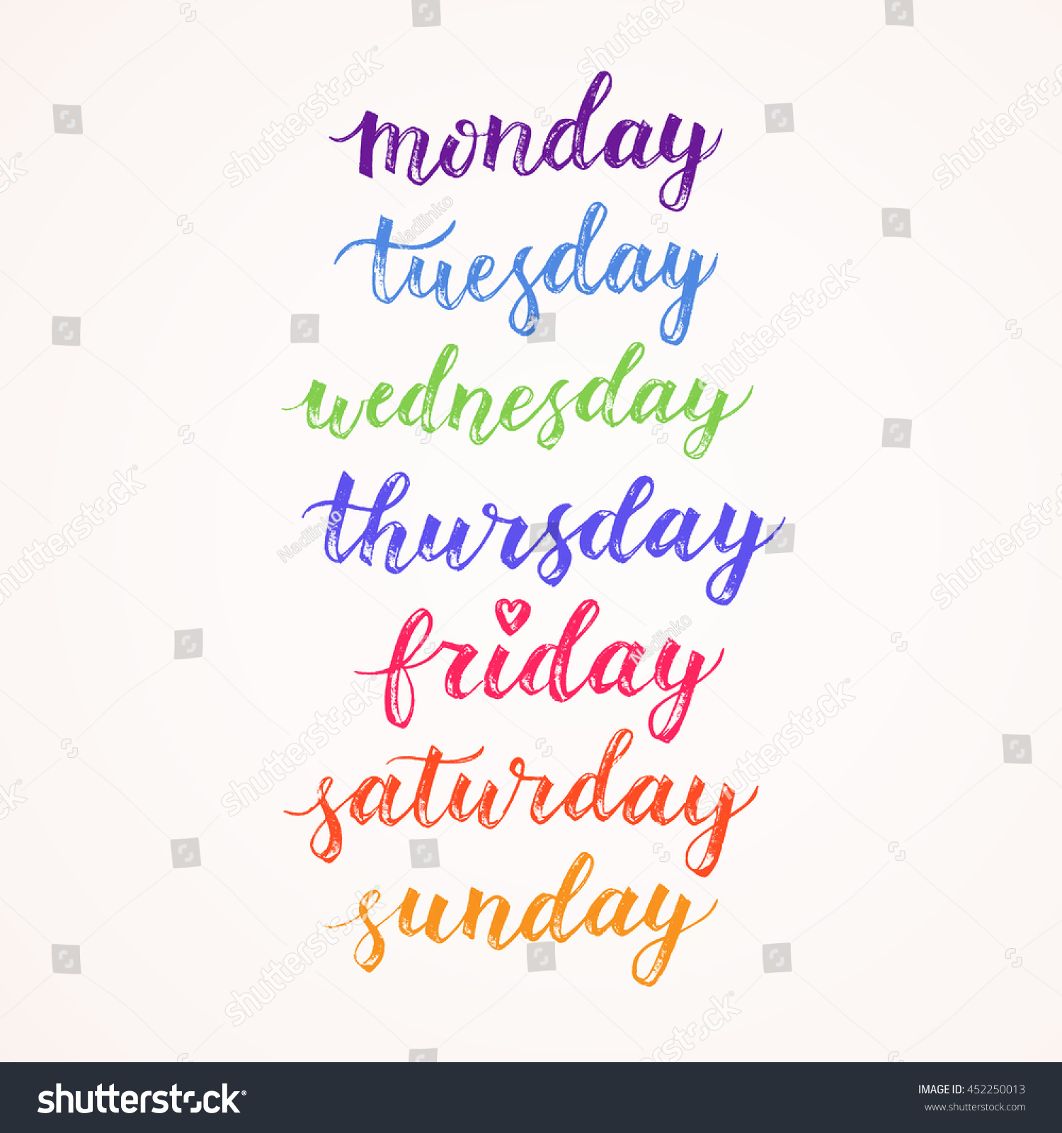 Days week hand drawn vector lettering stock